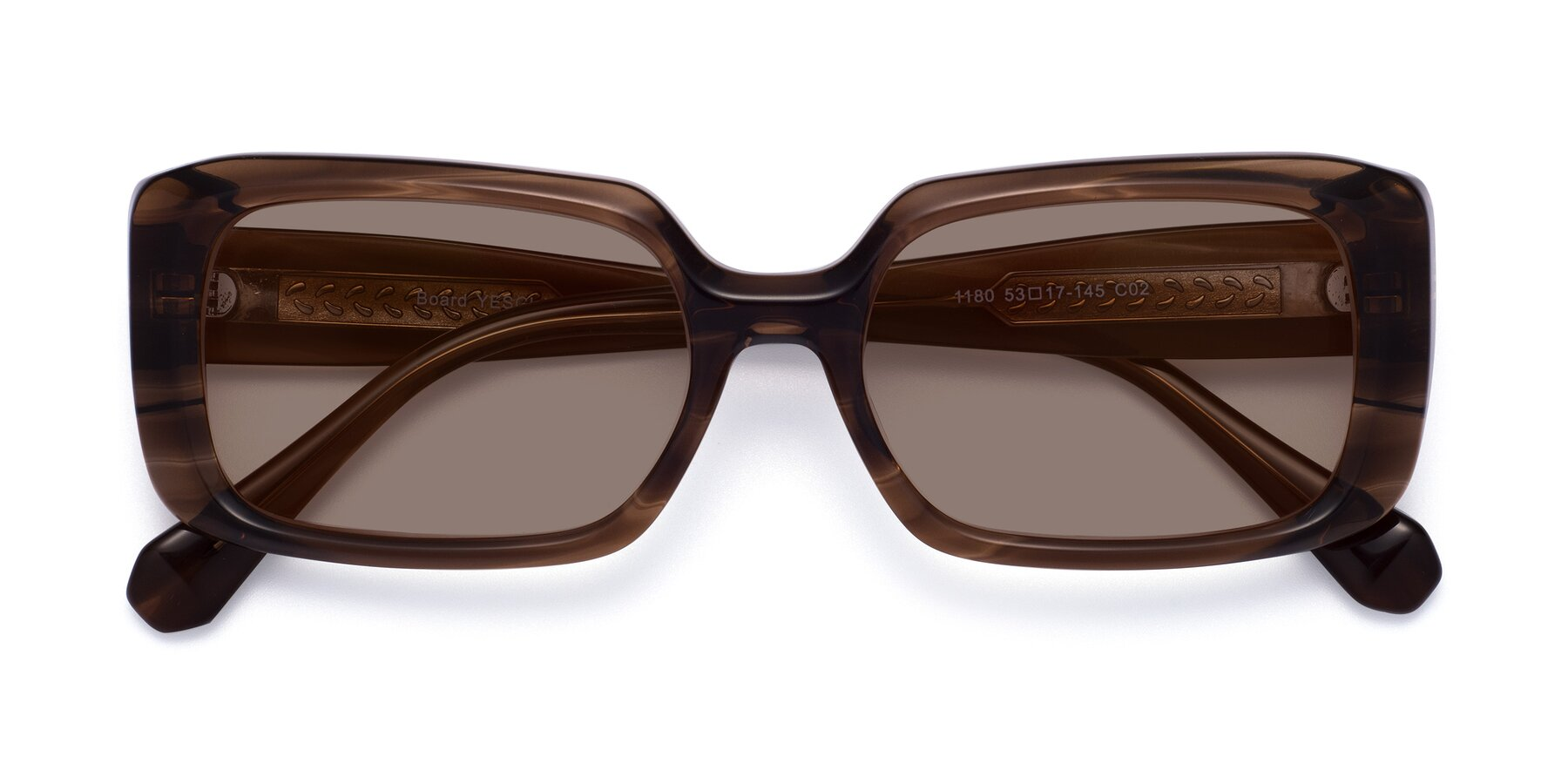 Folded Front of Board in Coffee with Medium Brown Tinted Lenses