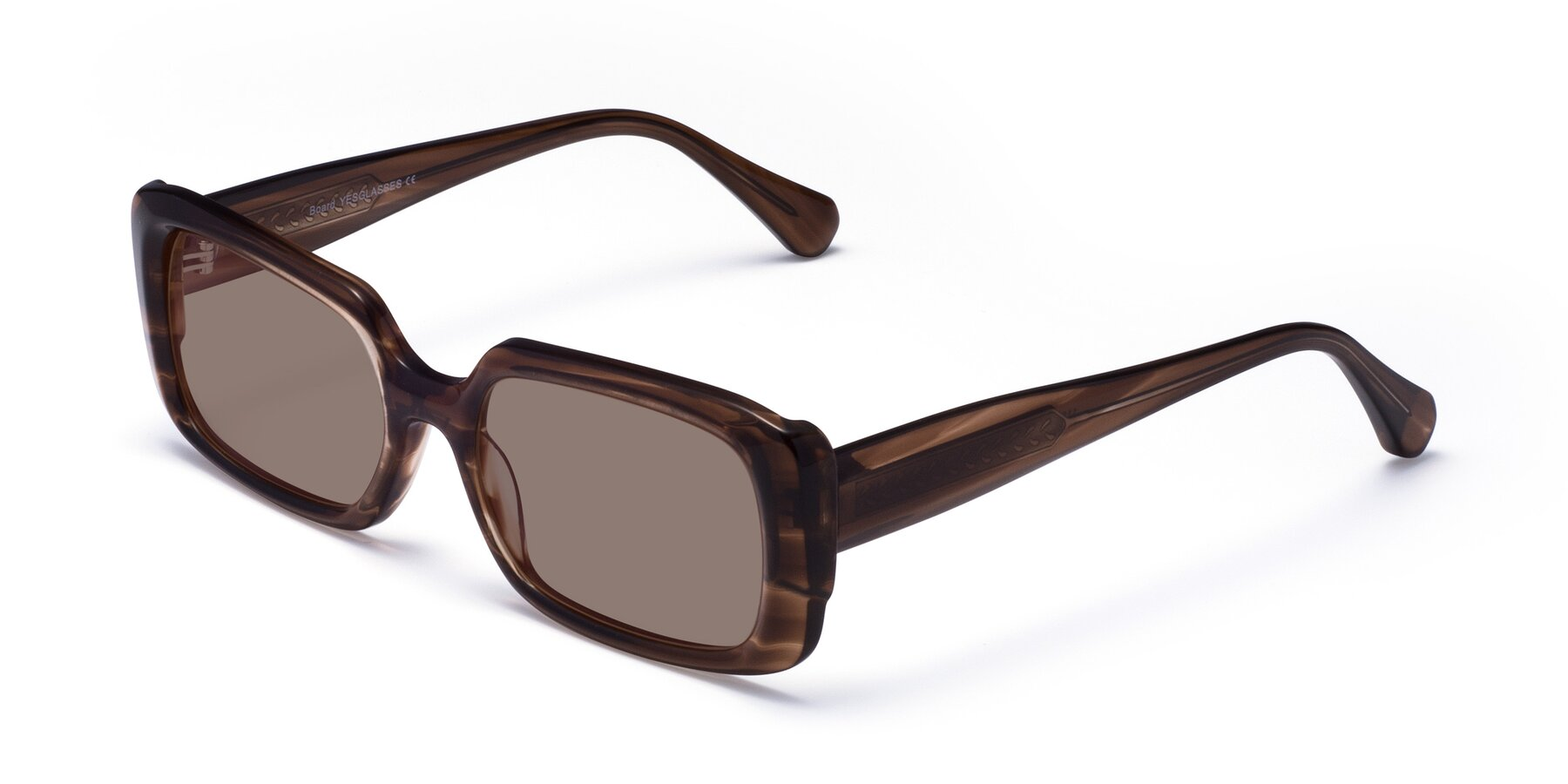 Angle of Board in Coffee with Medium Brown Tinted Lenses