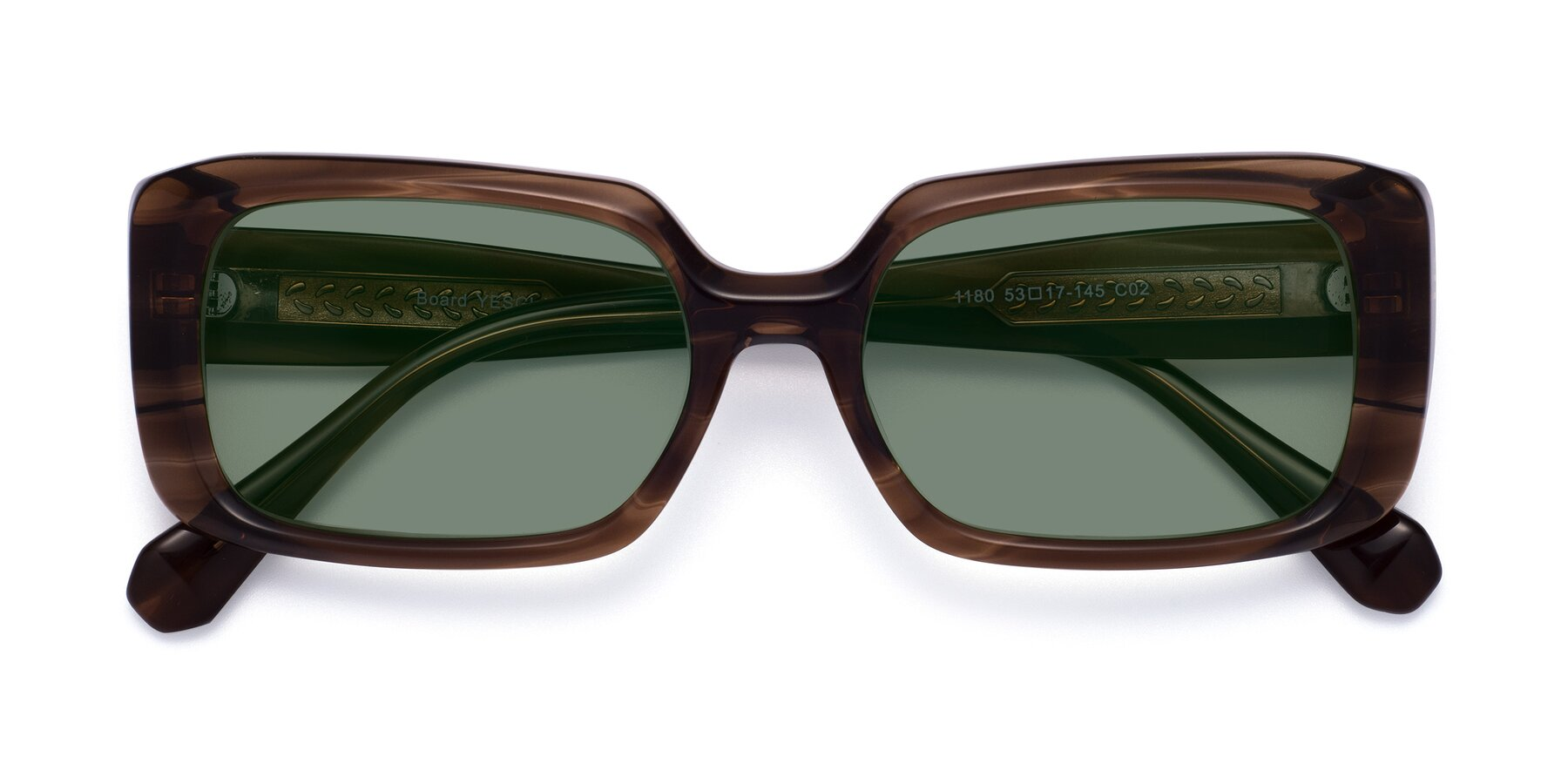 Folded Front of Board in Coffee with Medium Green Tinted Lenses