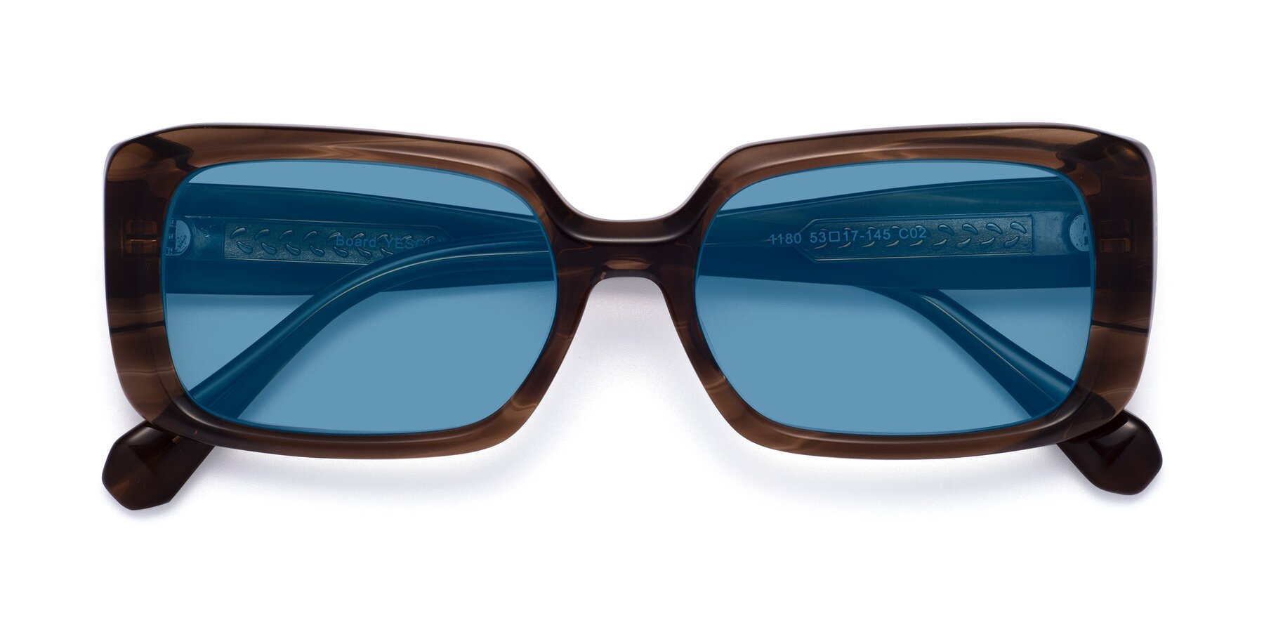 Folded Front of Board in Coffee with Medium Blue Tinted Lenses