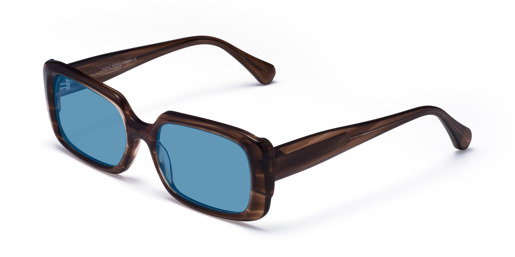 Angle of Board in Coffee with Medium Blue Tinted Lenses