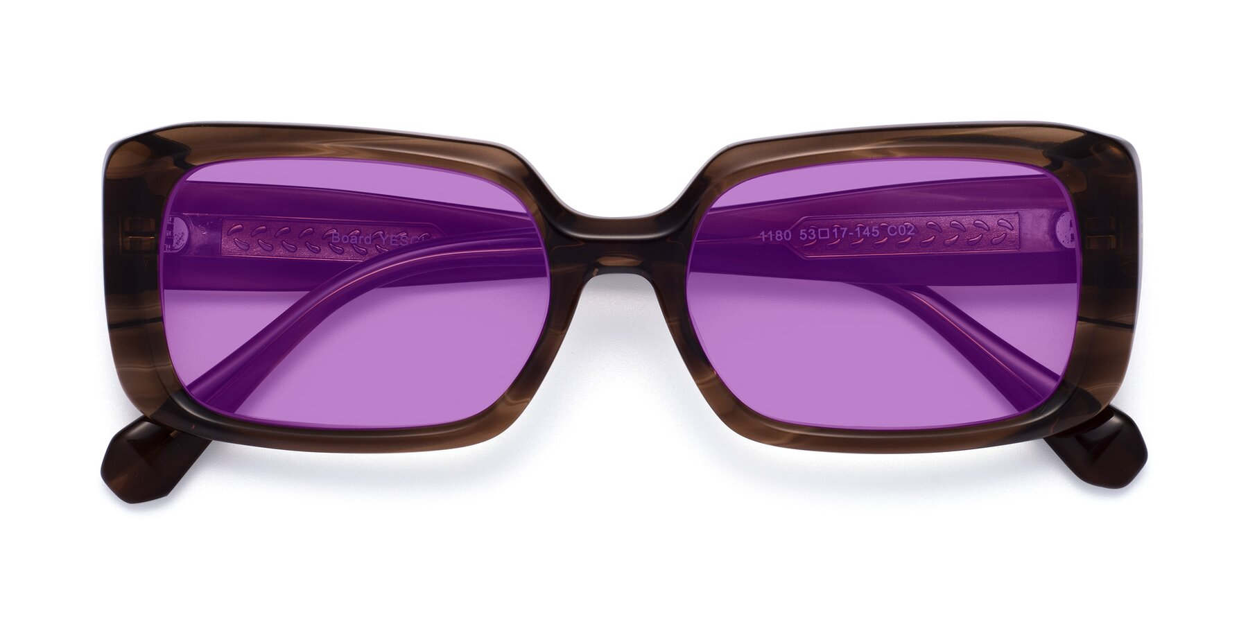 Folded Front of Board in Coffee with Medium Purple Tinted Lenses