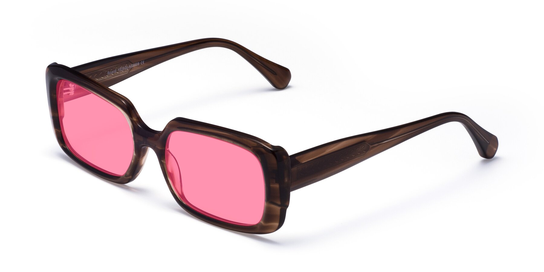 Angle of Board in Coffee with Pink Tinted Lenses