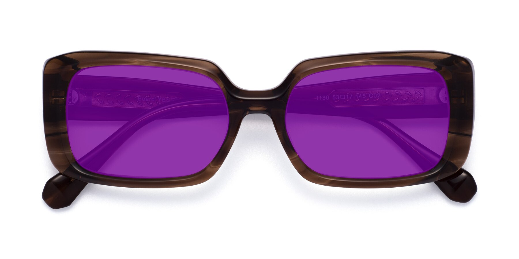 Folded Front of Board in Coffee with Purple Tinted Lenses