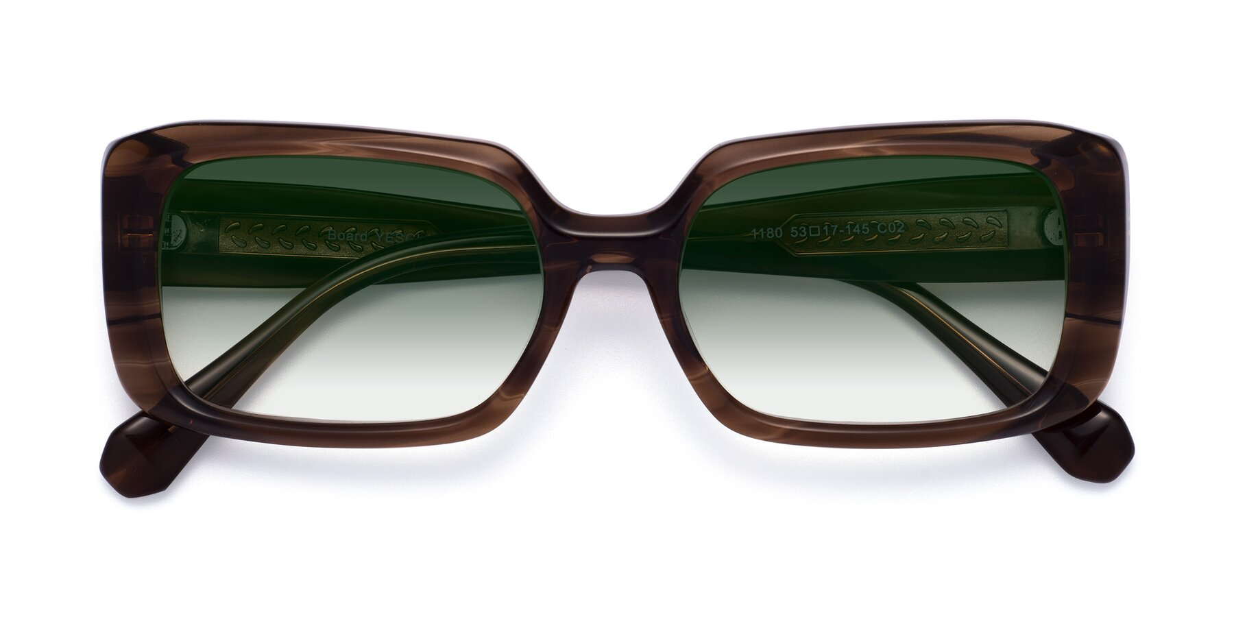 Folded Front of Board in Coffee with Green Gradient Lenses