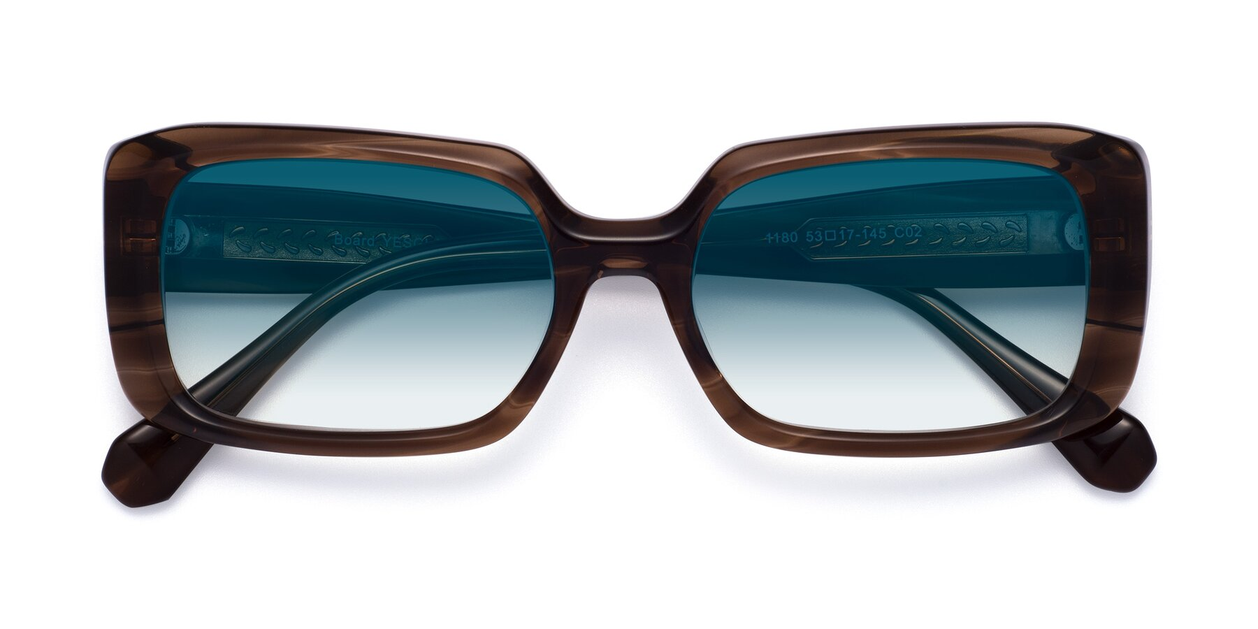 Folded Front of Board in Coffee with Blue Gradient Lenses