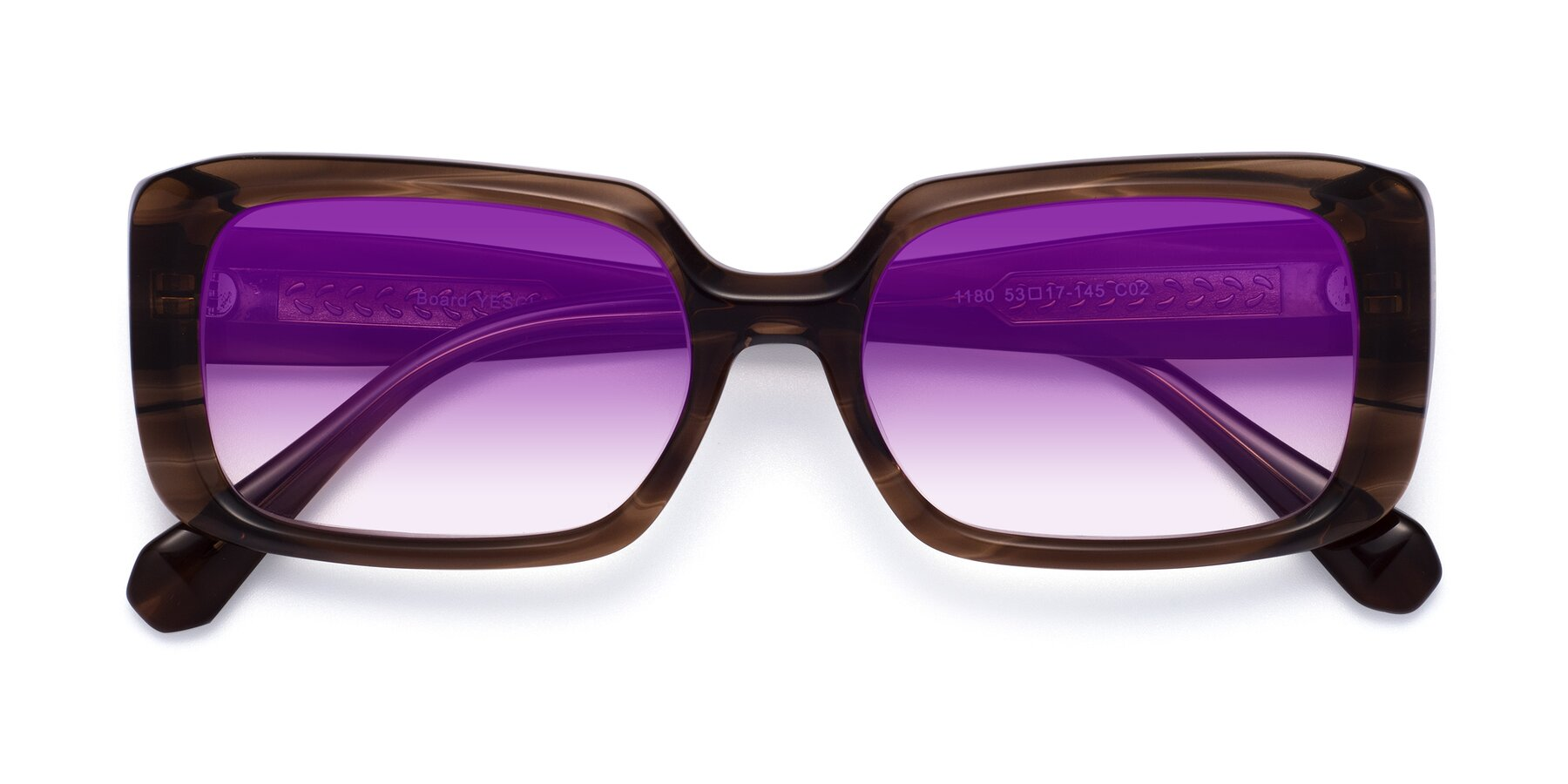 Folded Front of Board in Coffee with Purple Gradient Lenses