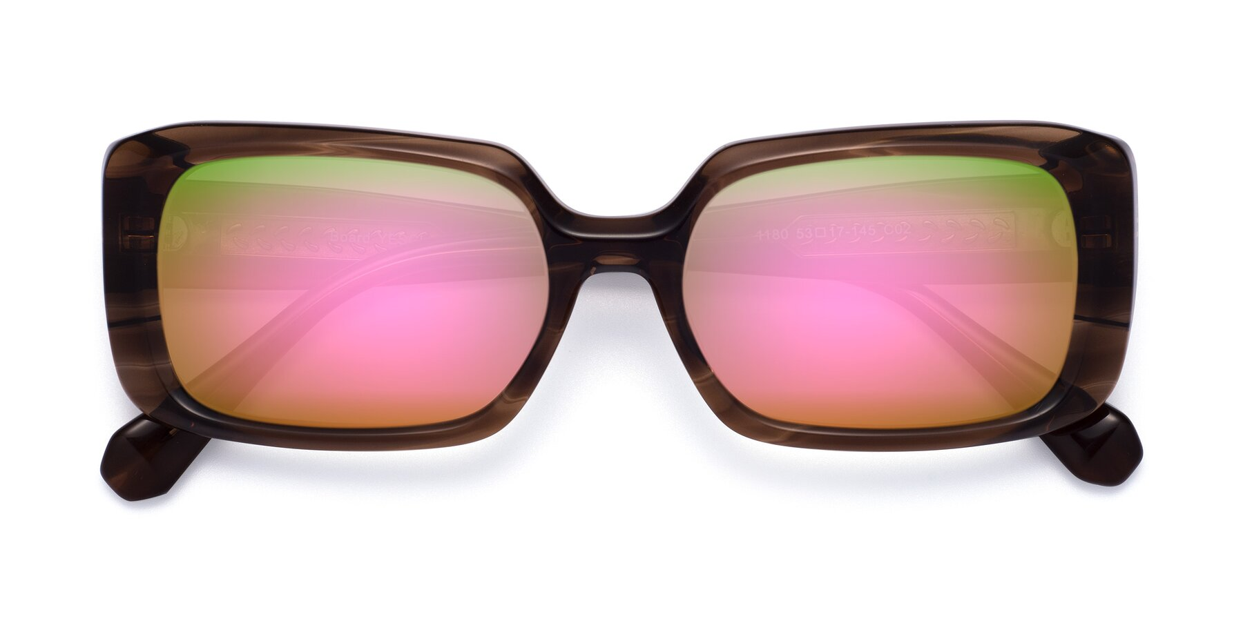 Folded Front of Board in Coffee with Pink Mirrored Lenses