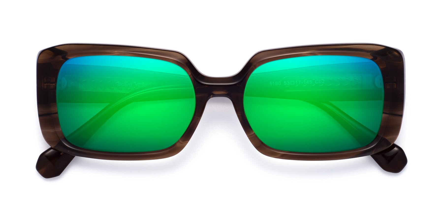 Folded Front of Board in Coffee with Green Mirrored Lenses