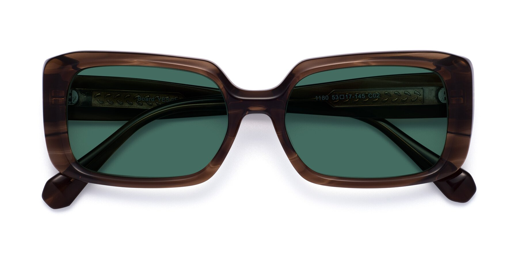 Folded Front of Board in Coffee with Green Polarized Lenses