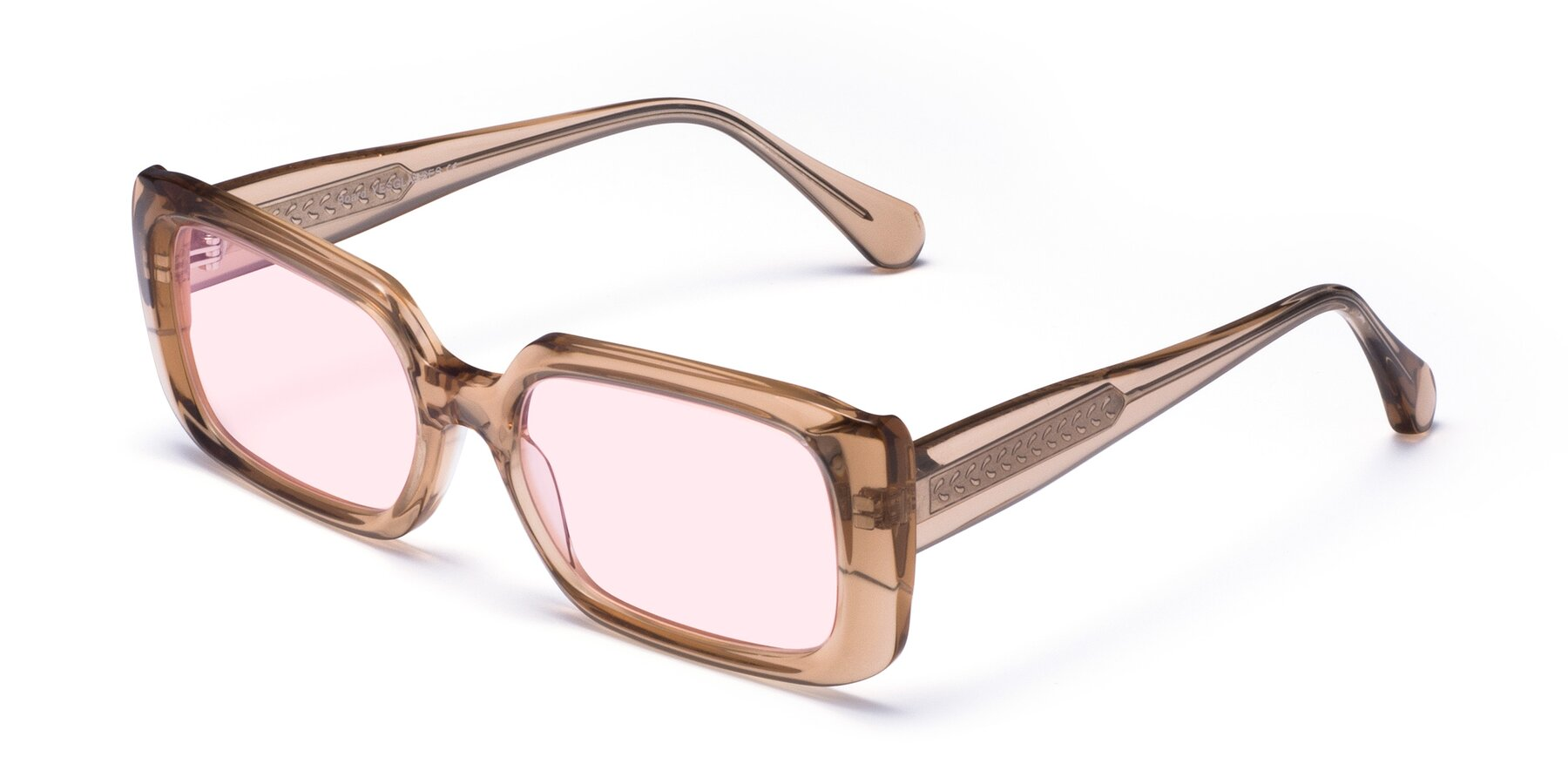 Angle of Board in Caramel with Light Pink Tinted Lenses