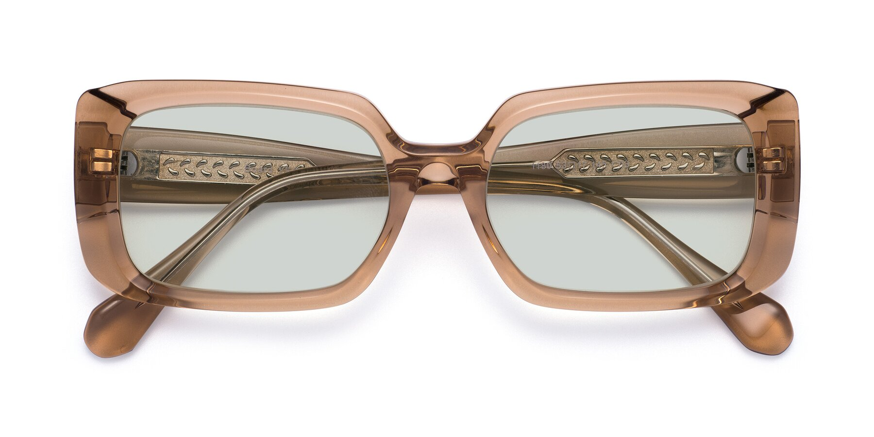Folded Front of Board in Caramel with Light Green Tinted Lenses