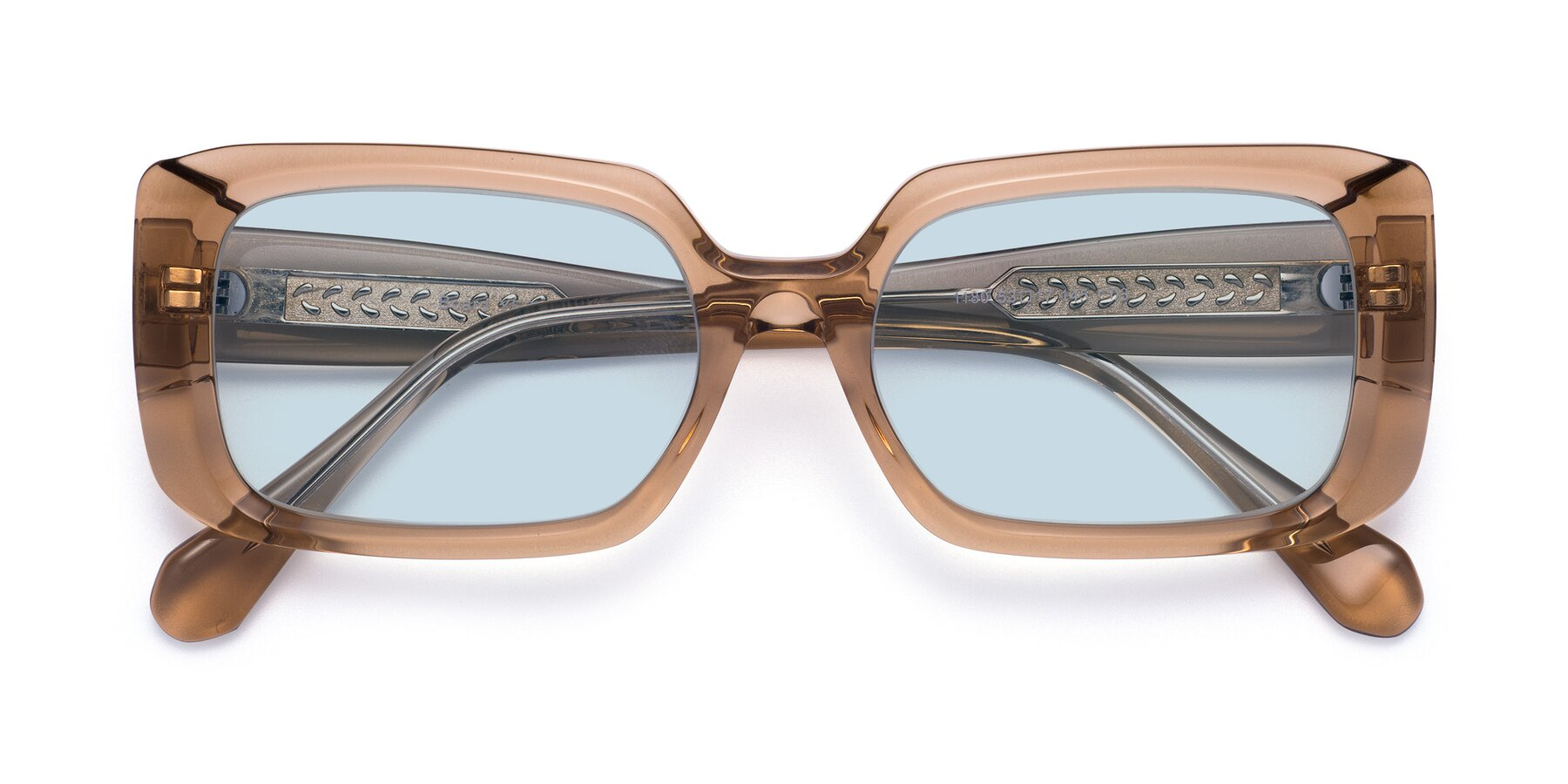 Folded Front of Board in Caramel with Light Blue Tinted Lenses