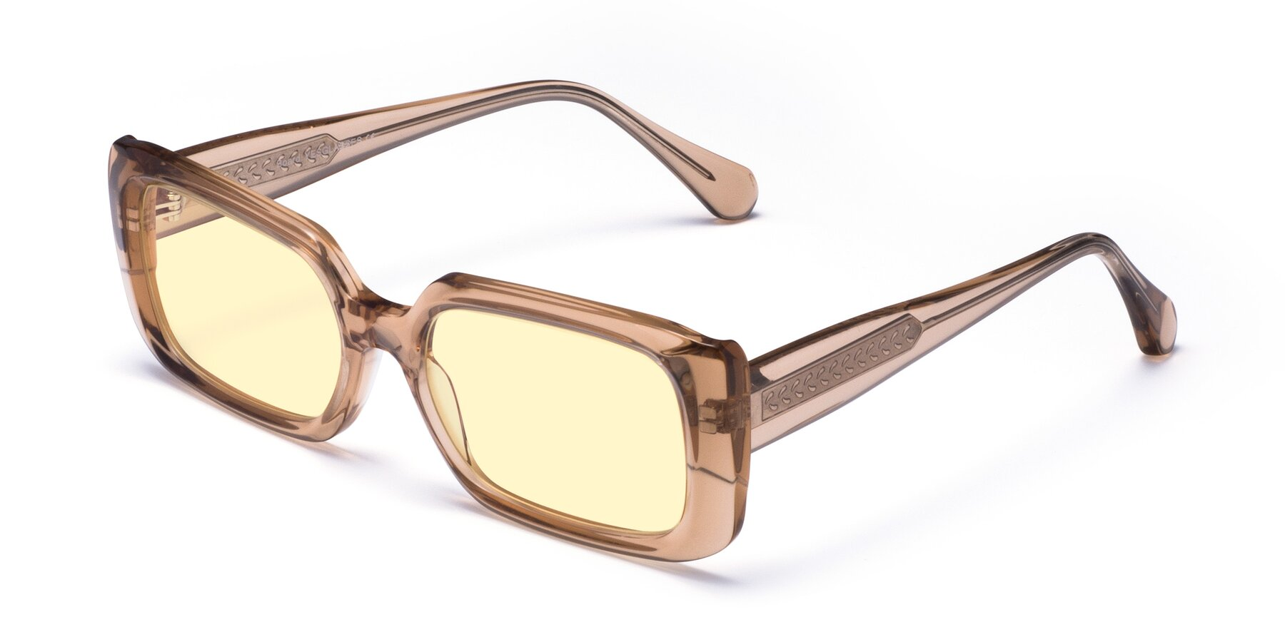 Angle of Board in Caramel with Light Yellow Tinted Lenses