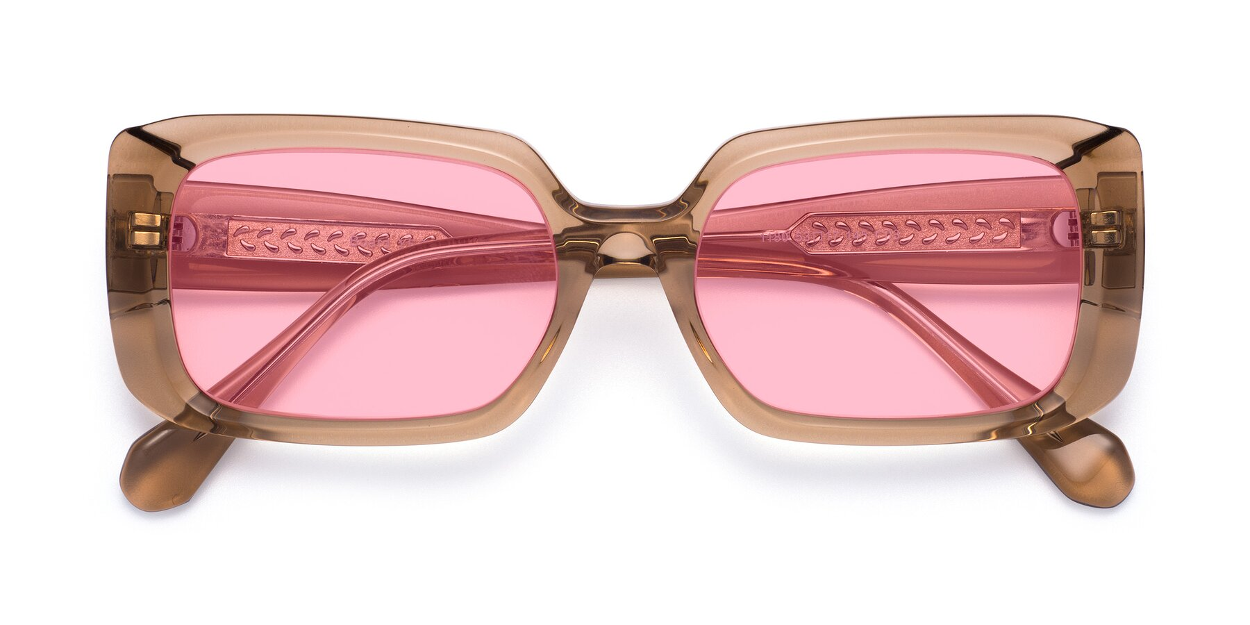 Folded Front of Board in Caramel with Medium Pink Tinted Lenses