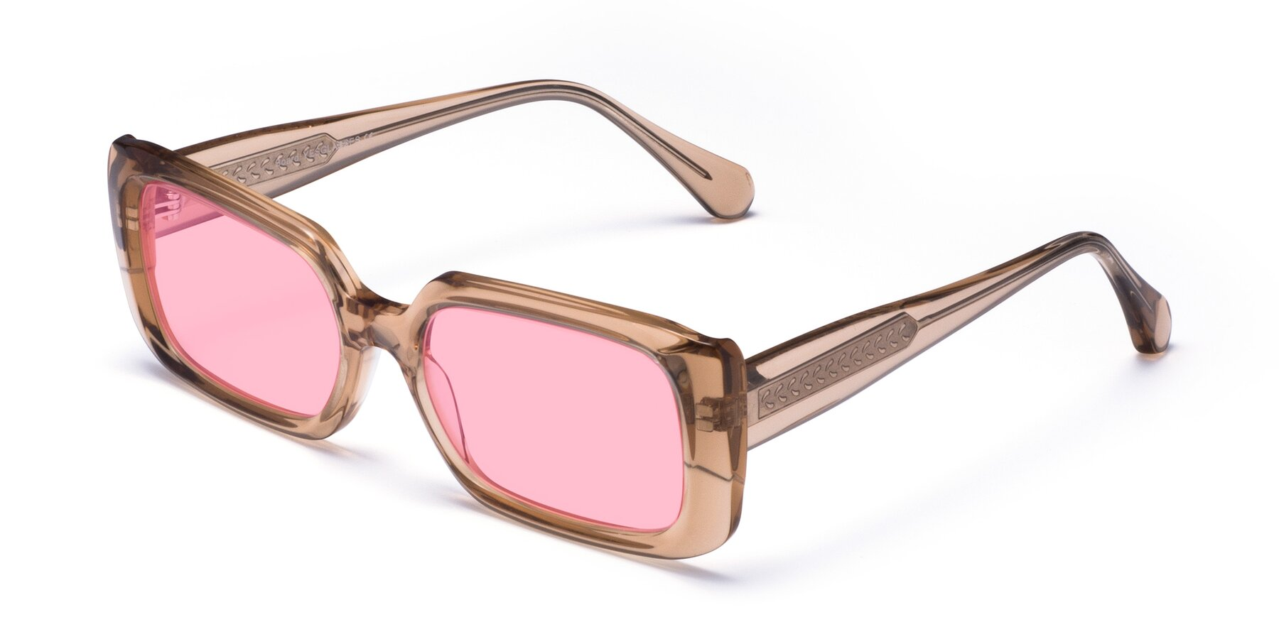Angle of Board in Caramel with Medium Pink Tinted Lenses