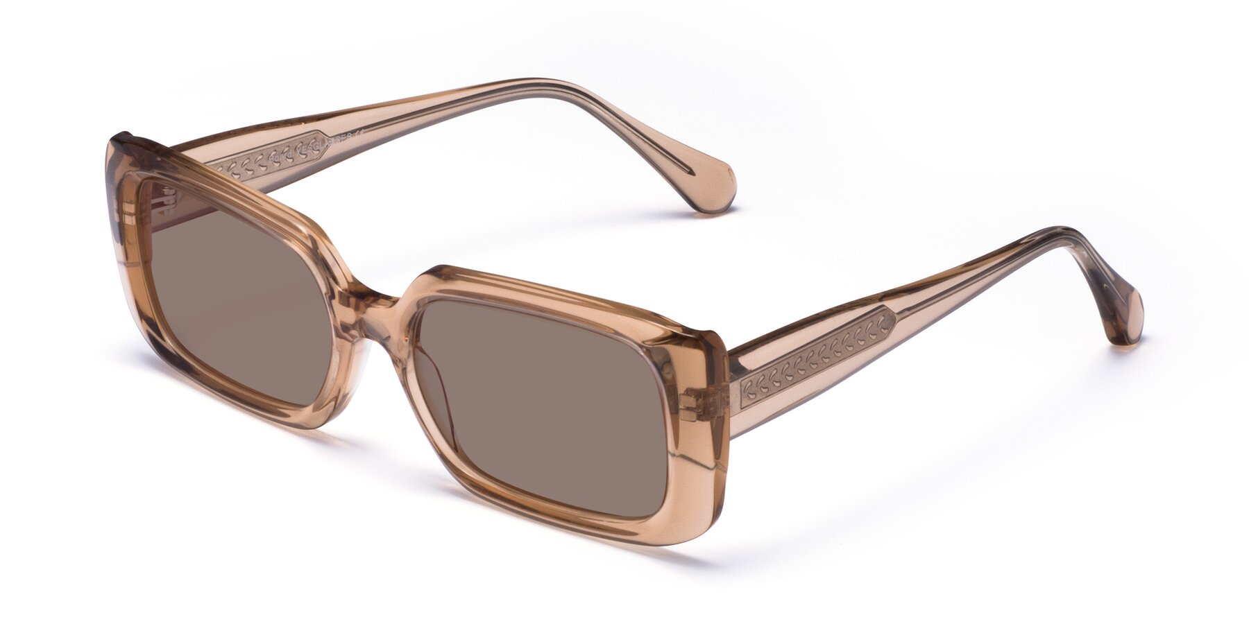Angle of Board in Caramel with Medium Brown Tinted Lenses