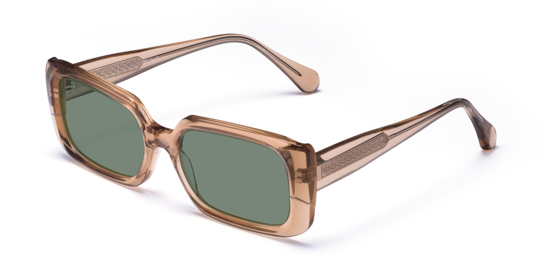 Angle of Board in Caramel with Medium Green Tinted Lenses