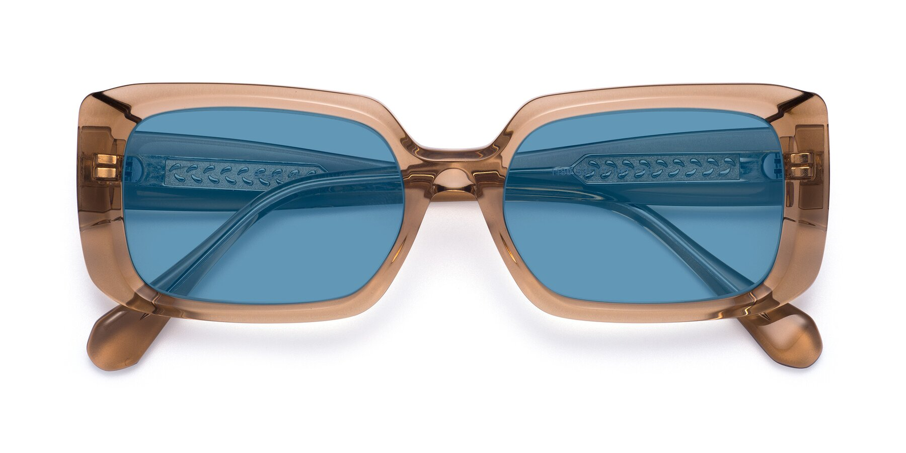 Folded Front of Board in Caramel with Medium Blue Tinted Lenses