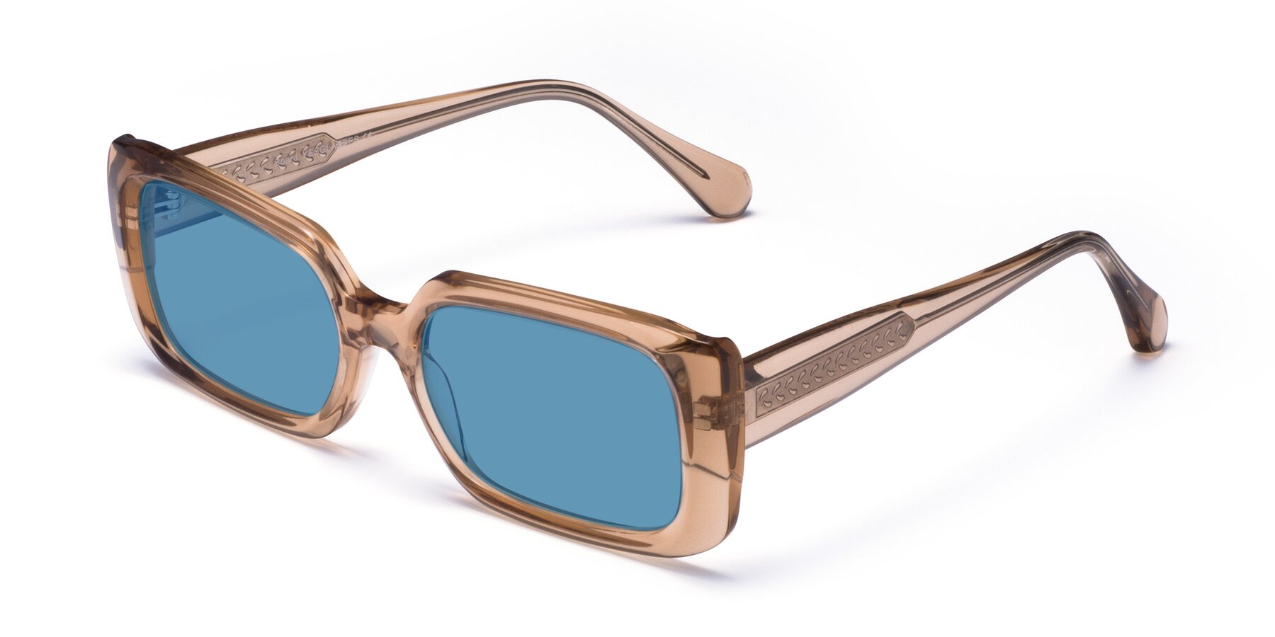 Angle of Board in Caramel with Medium Blue Tinted Lenses