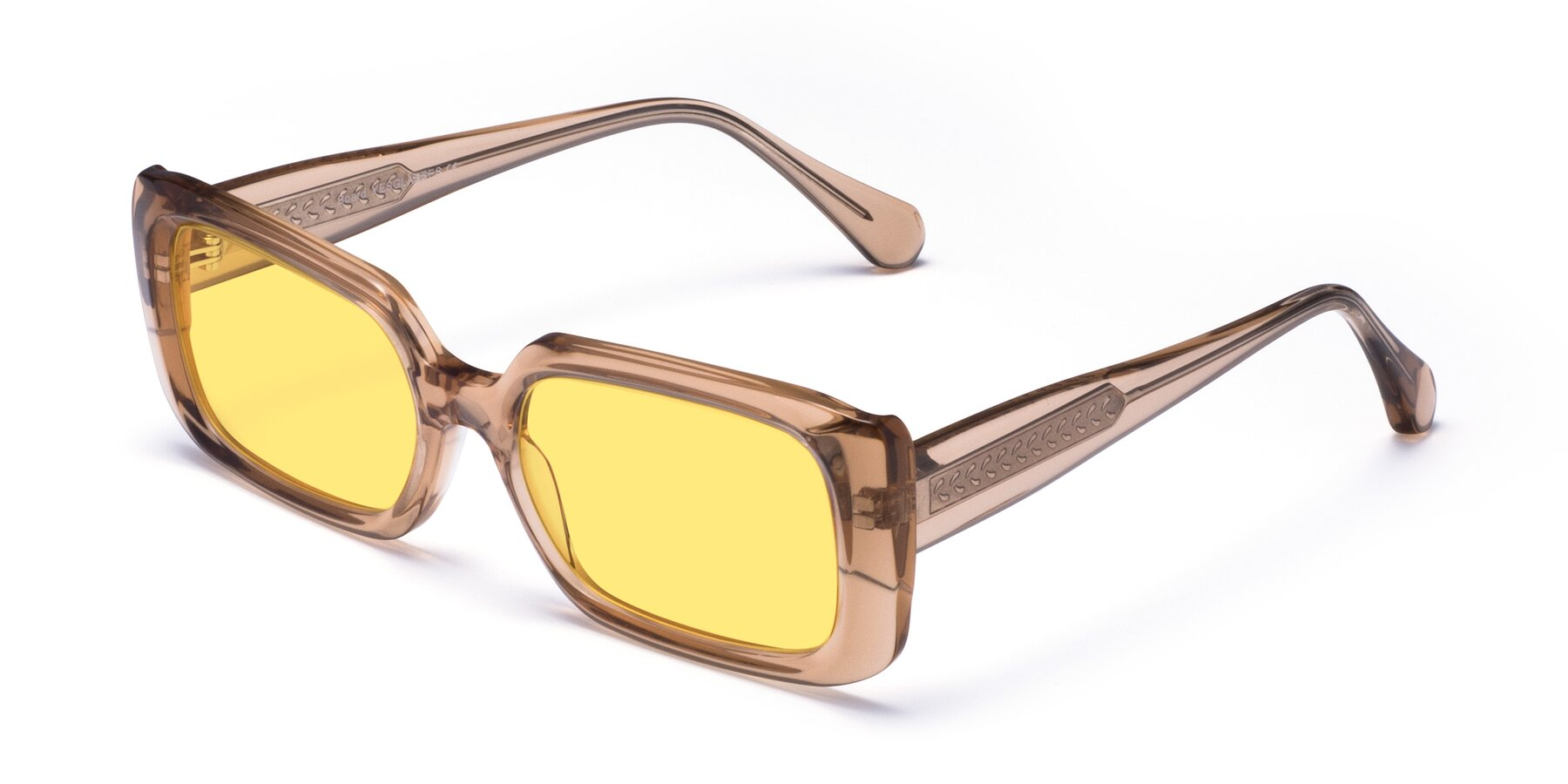 Angle of Board in Caramel with Medium Yellow Tinted Lenses