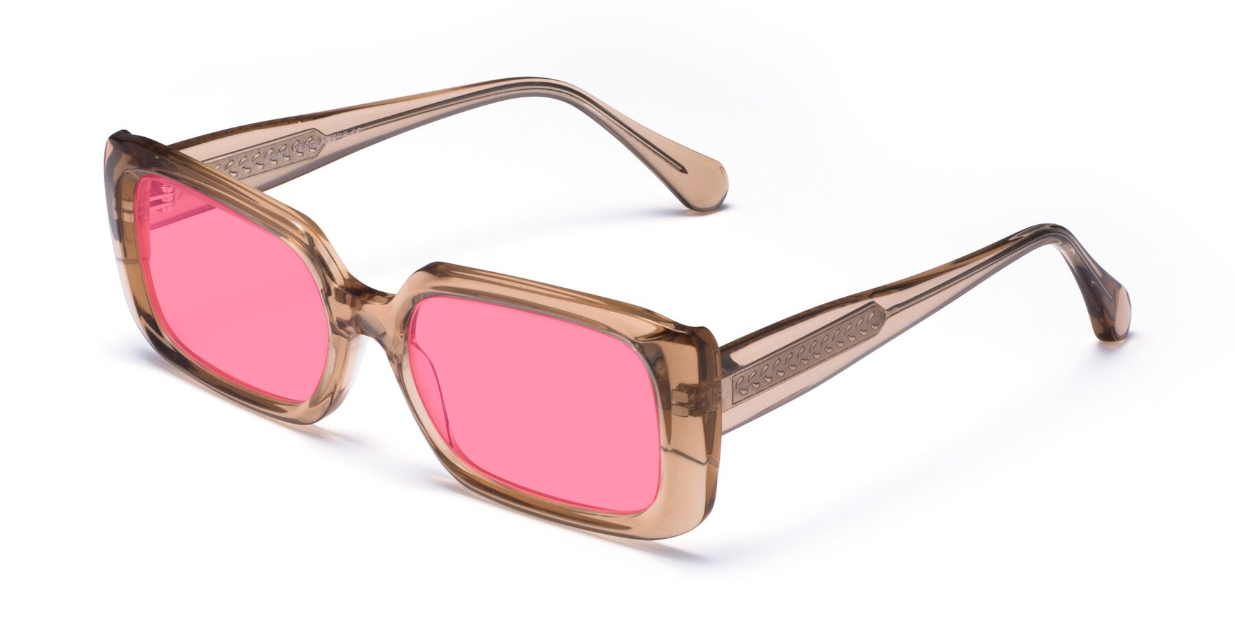 Angle of Board in Caramel with Pink Tinted Lenses