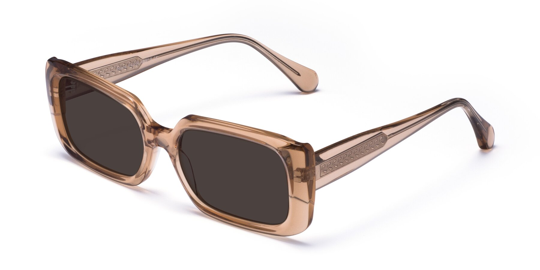 Angle of Board in Caramel with Gray Tinted Lenses