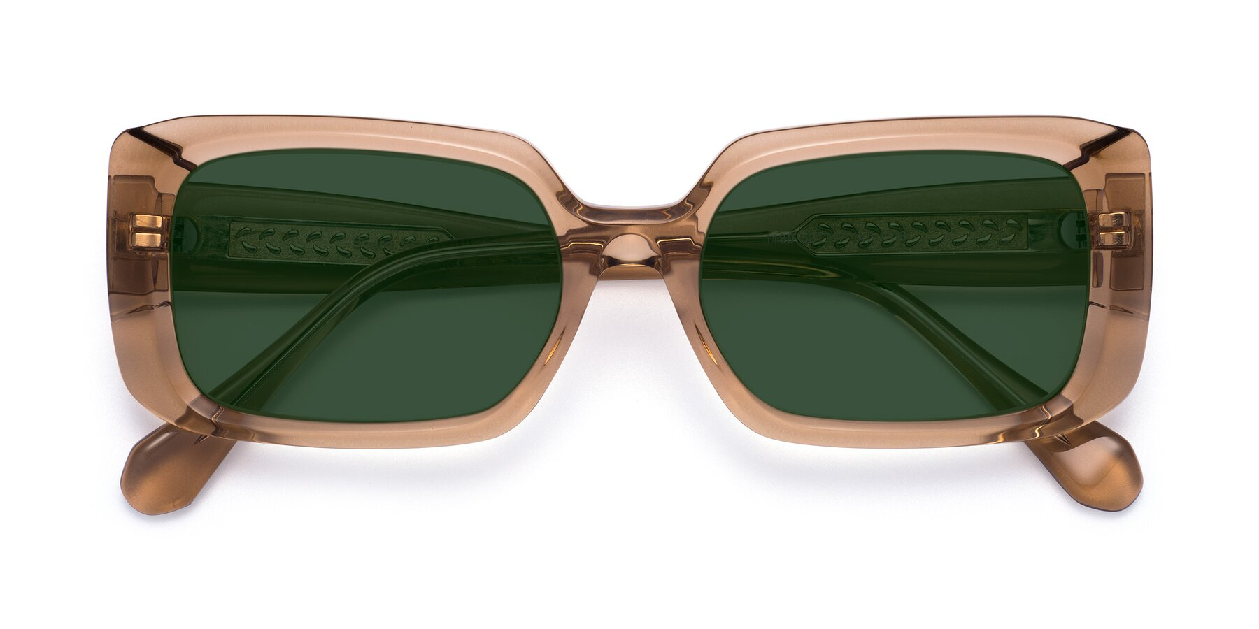 Folded Front of Board in Caramel with Green Tinted Lenses