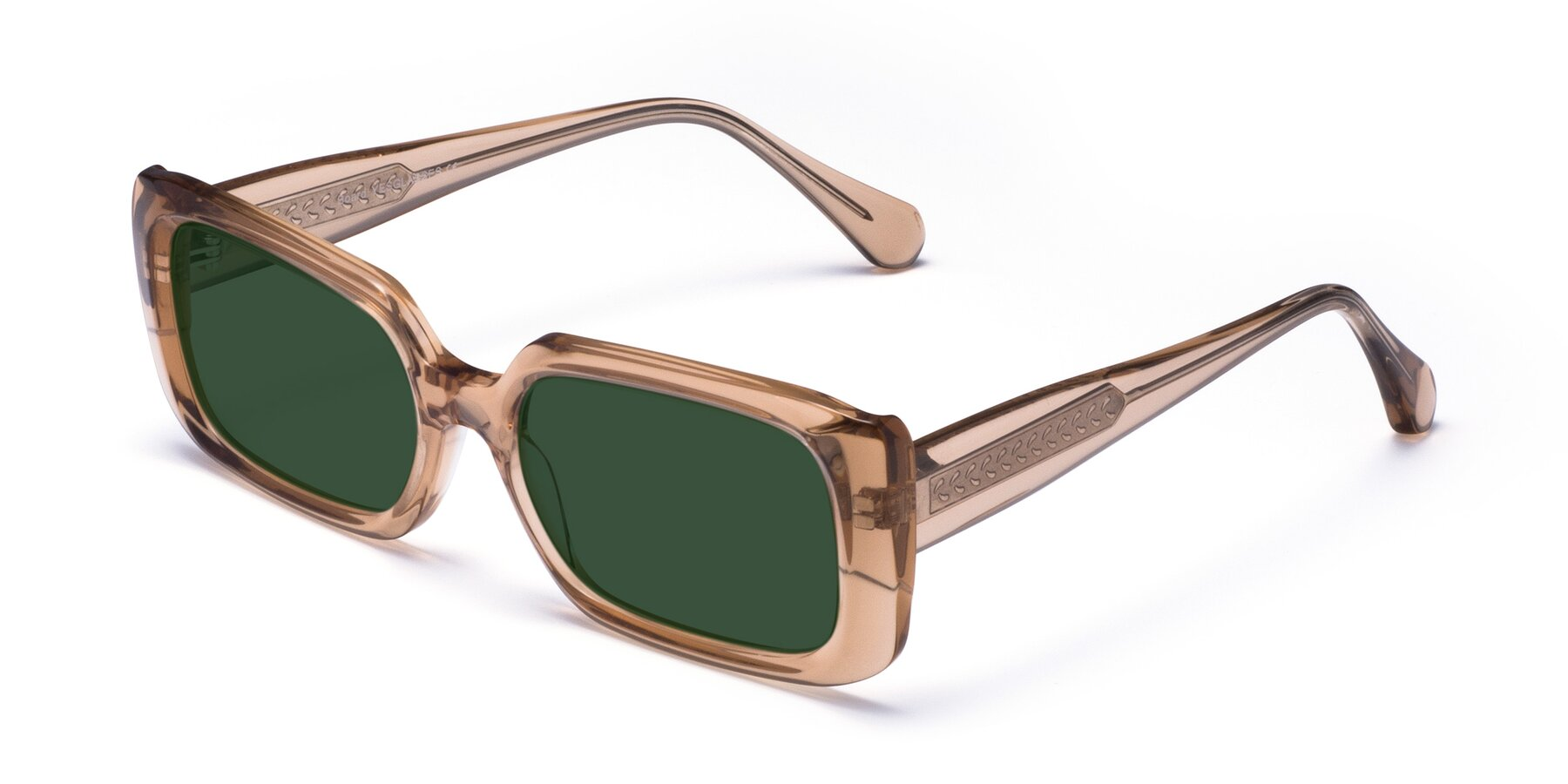 Angle of Board in Caramel with Green Tinted Lenses