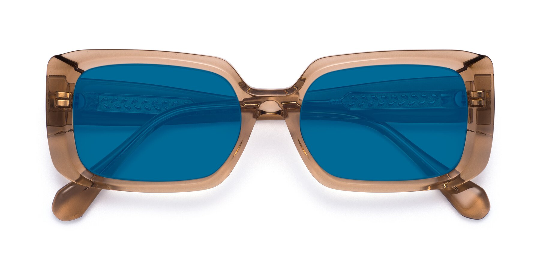 Folded Front of Board in Caramel with Blue Tinted Lenses