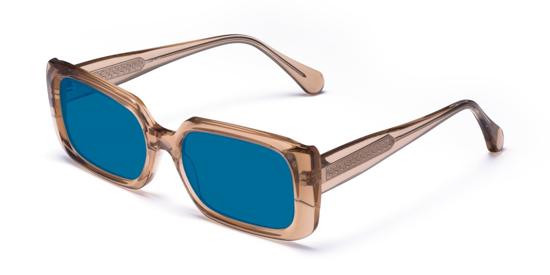 Angle of Board in Caramel with Blue Tinted Lenses