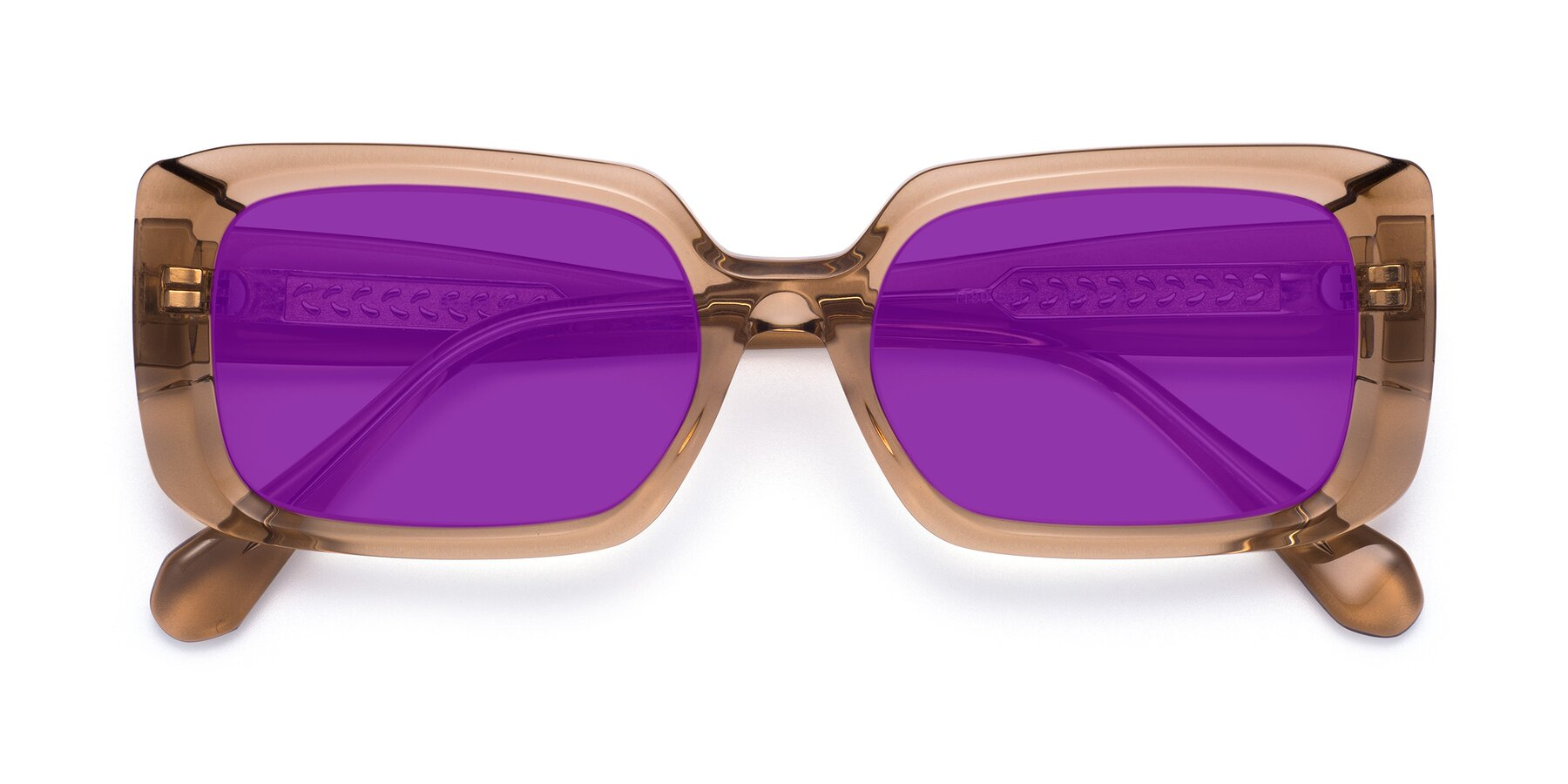 Folded Front of Board in Caramel with Purple Tinted Lenses