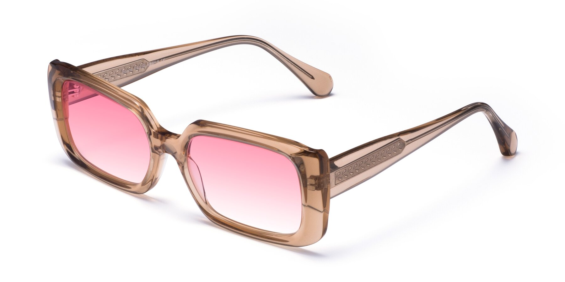 Angle of Board in Caramel with Pink Gradient Lenses
