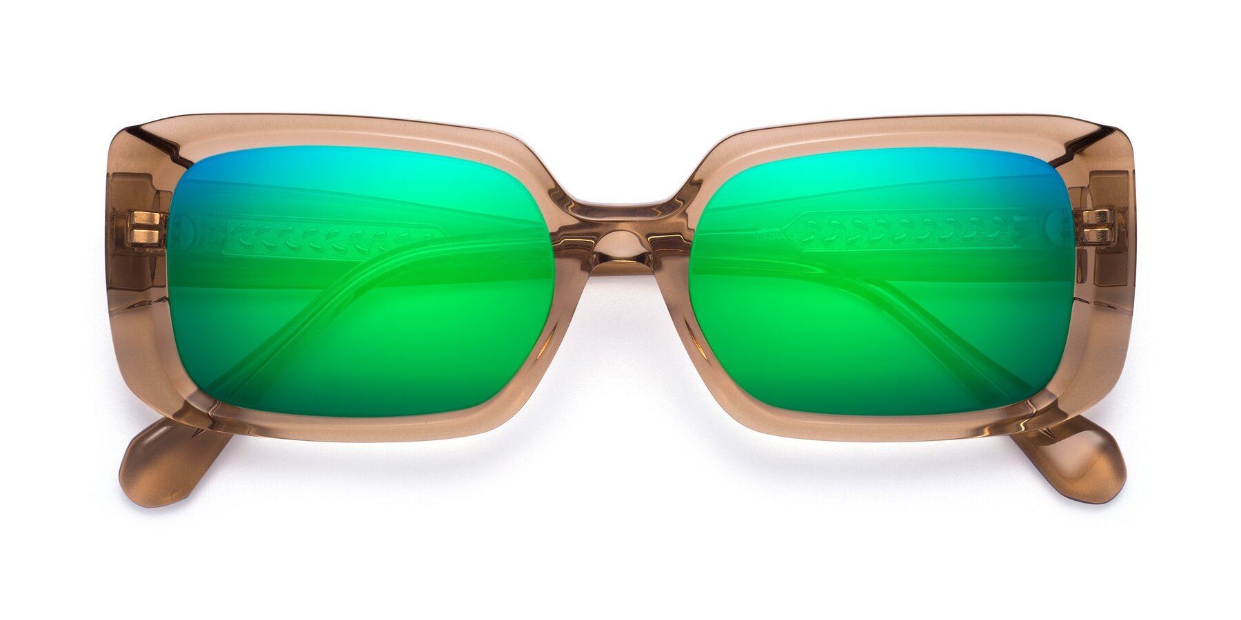 Folded Front of Board in Caramel with Green Mirrored Lenses