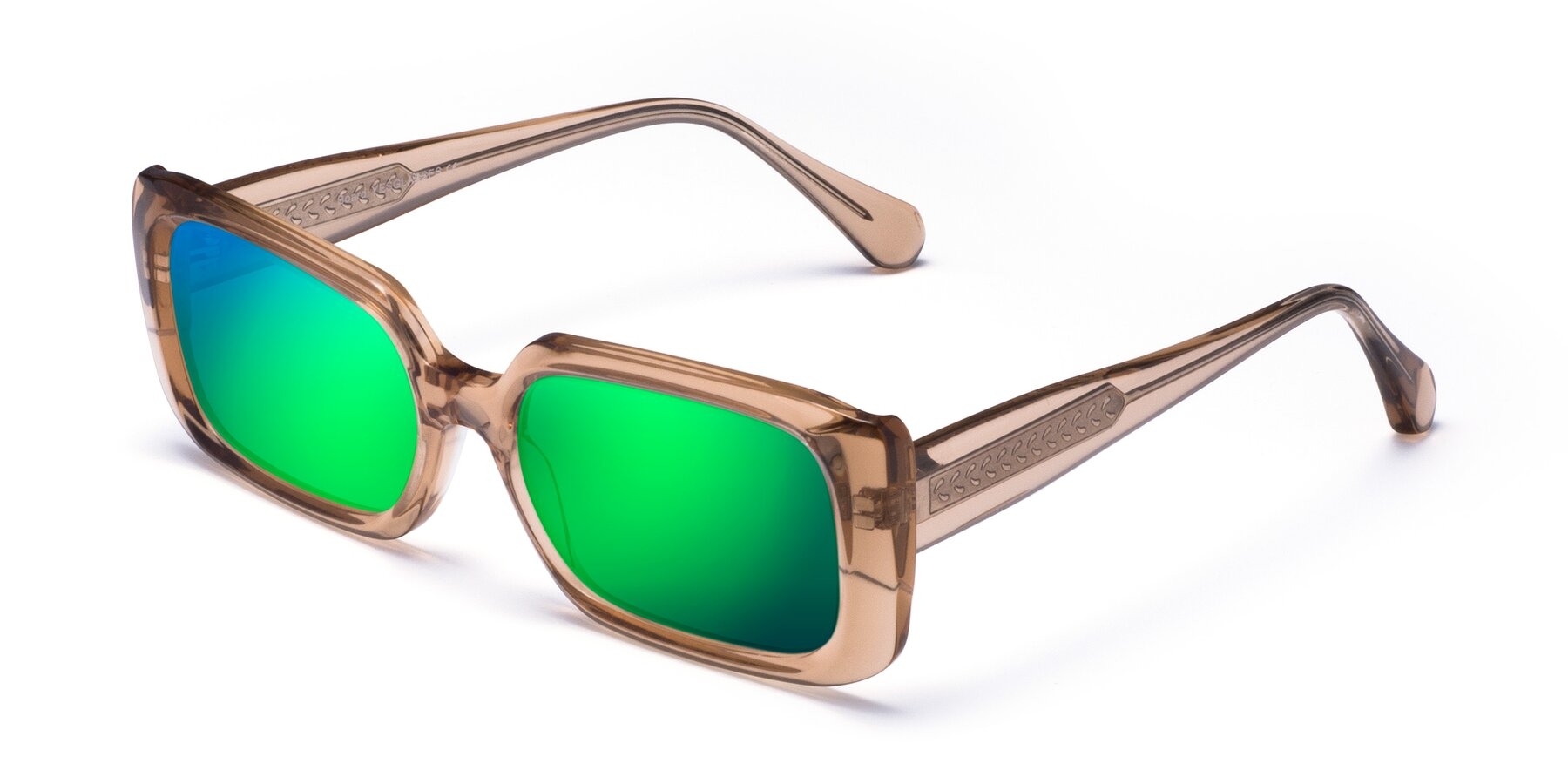 Angle of Board in Caramel with Green Mirrored Lenses