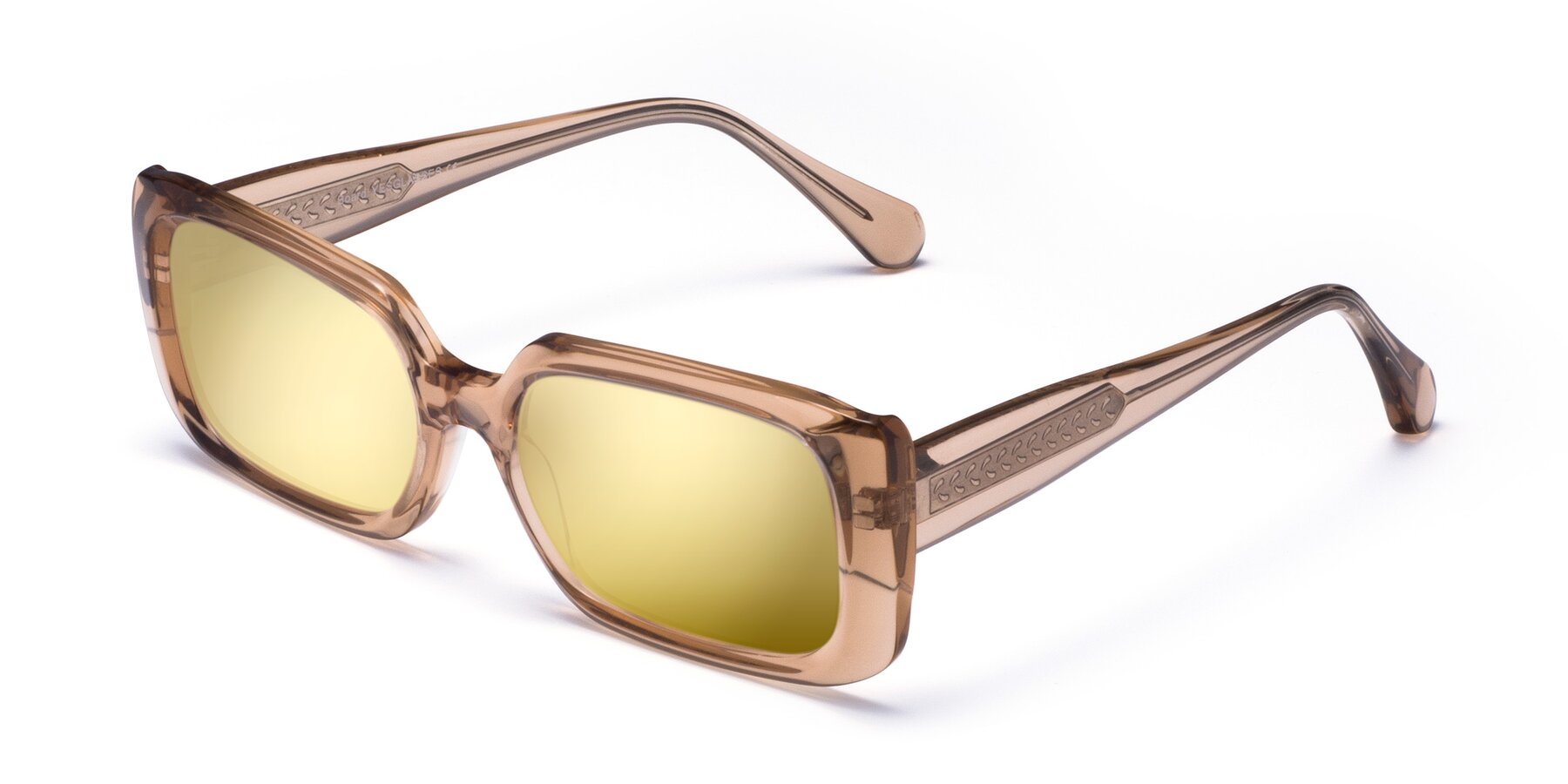 Angle of Board in Caramel with Gold Mirrored Lenses