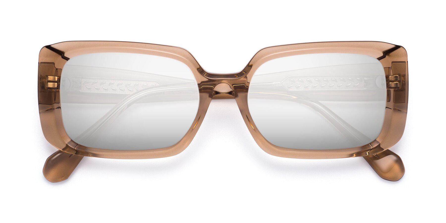 Folded Front of Board in Caramel with Silver Mirrored Lenses