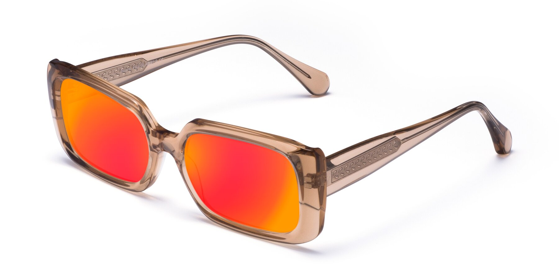 Angle of Board in Caramel with Red Gold Mirrored Lenses