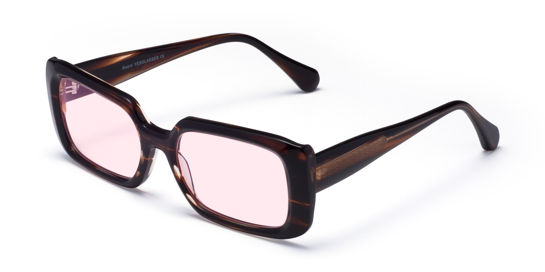 Angle of Board in Wine with Light Pink Tinted Lenses