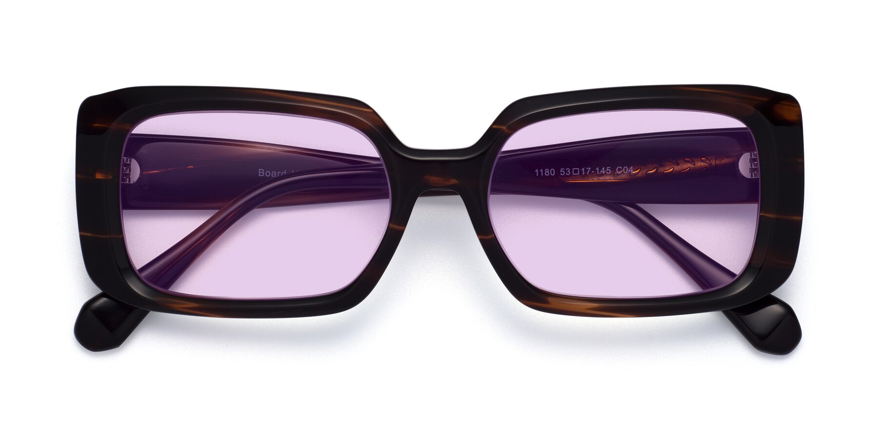 Folded Front of Board in Wine with Light Purple Tinted Lenses