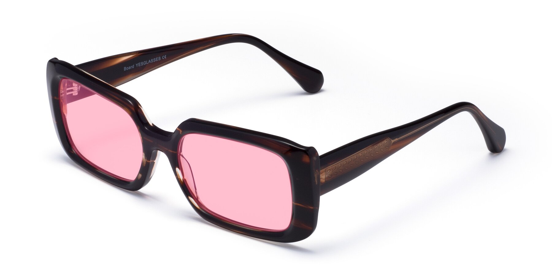 Angle of Board in Wine with Medium Pink Tinted Lenses