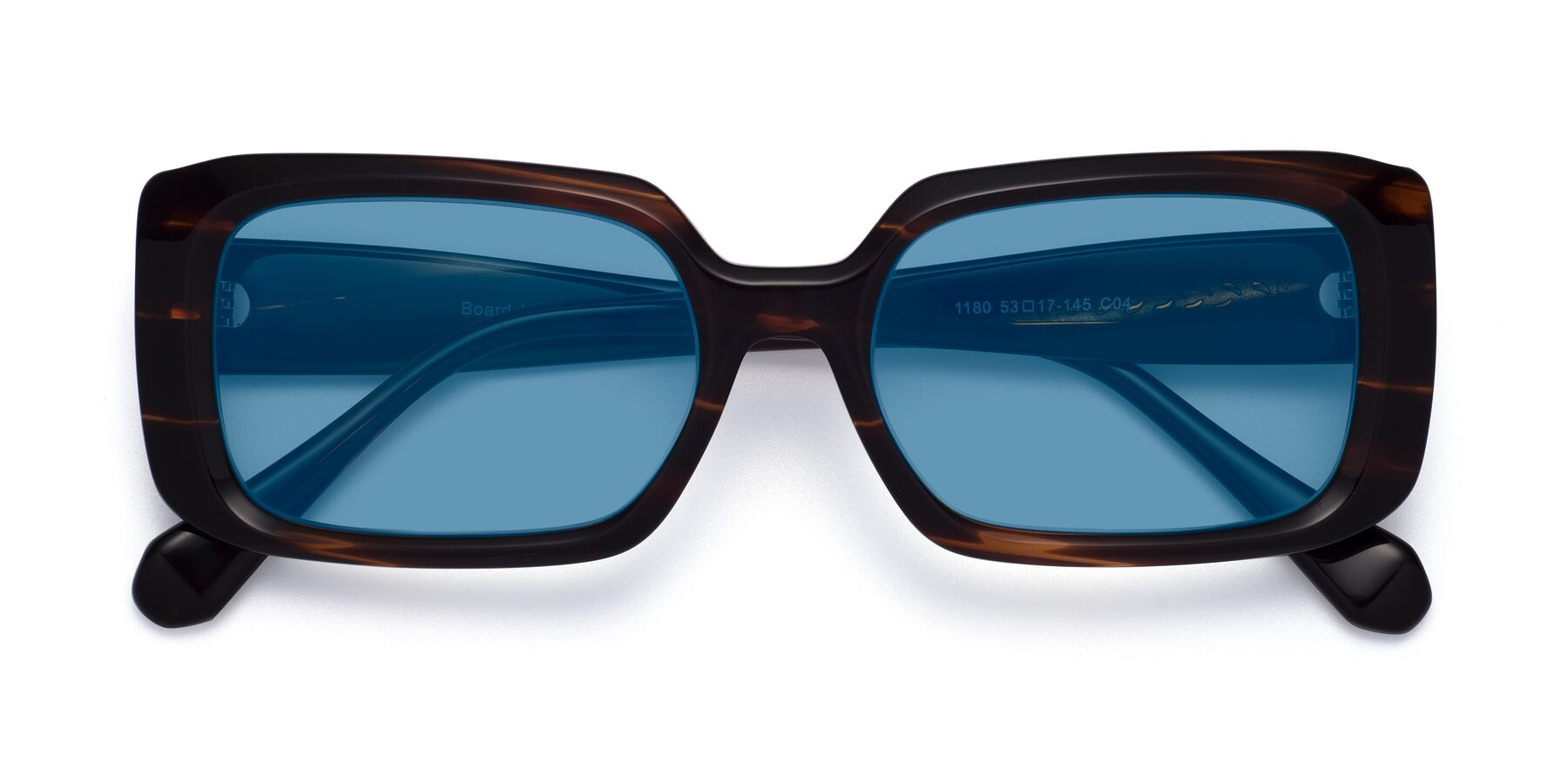 Folded Front of Board in Wine with Medium Blue Tinted Lenses