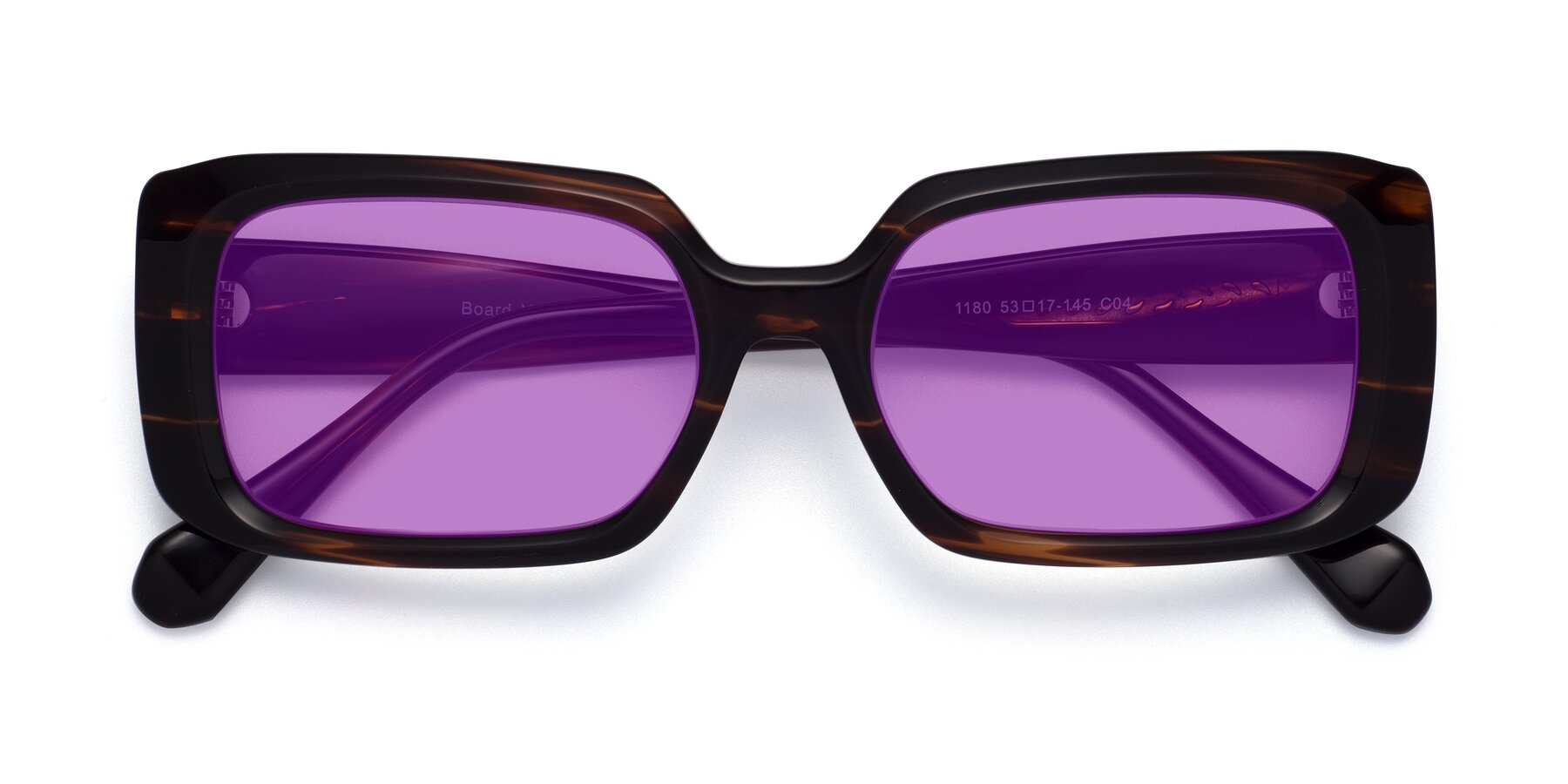 Folded Front of Board in Wine with Medium Purple Tinted Lenses