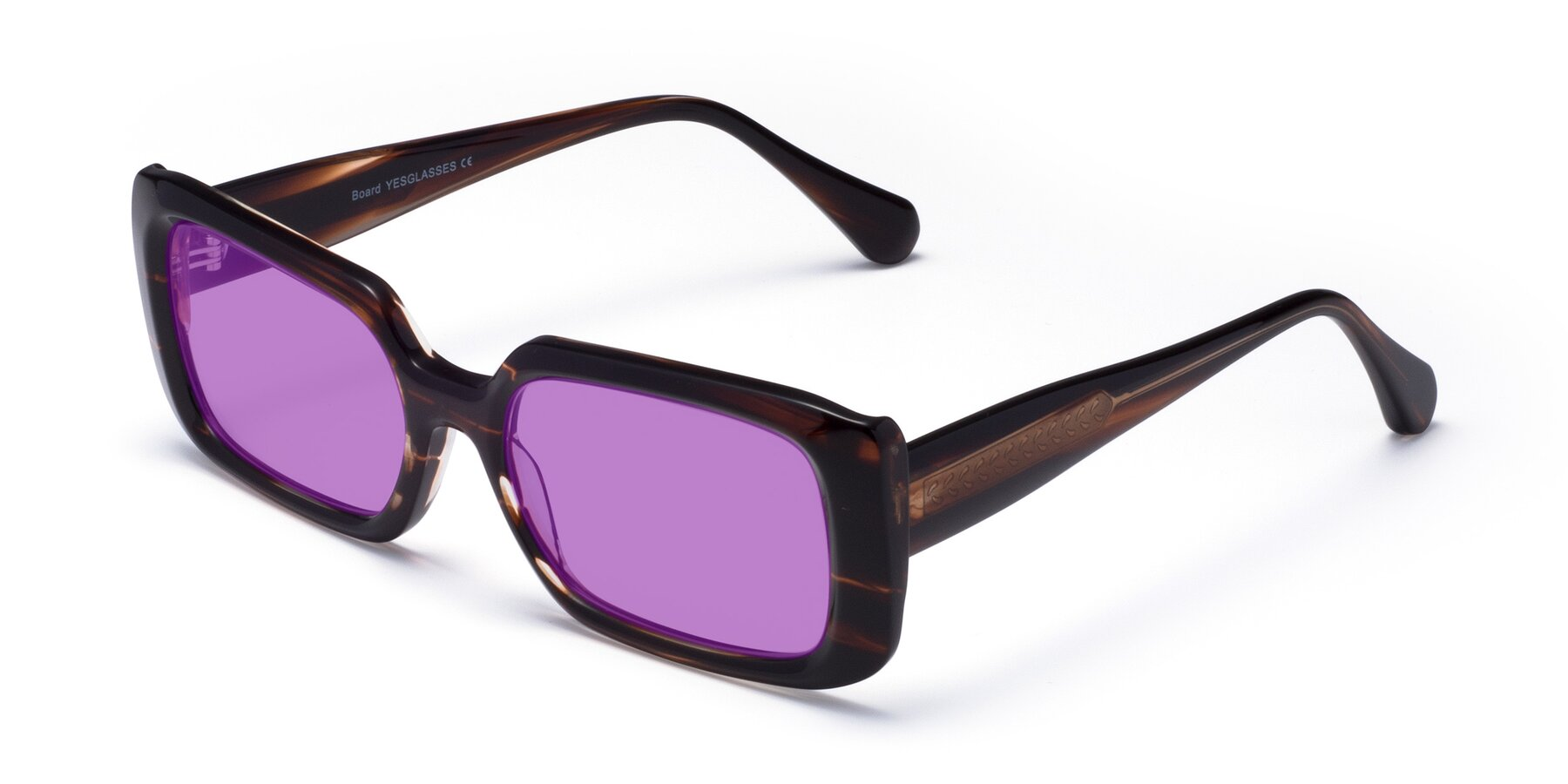 Angle of Board in Wine with Medium Purple Tinted Lenses