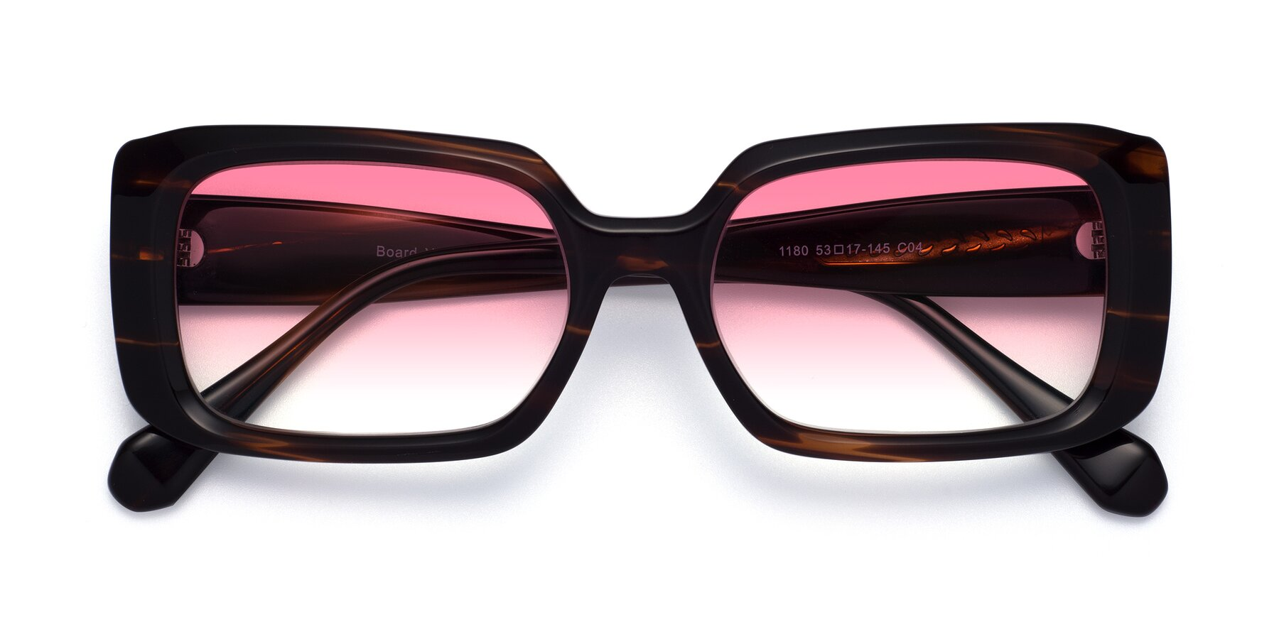 Folded Front of Board in Wine with Pink Gradient Lenses