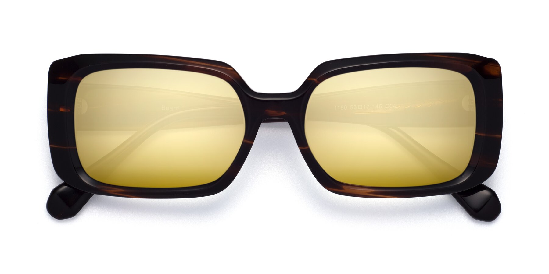 Folded Front of Board in Wine with Gold Mirrored Lenses