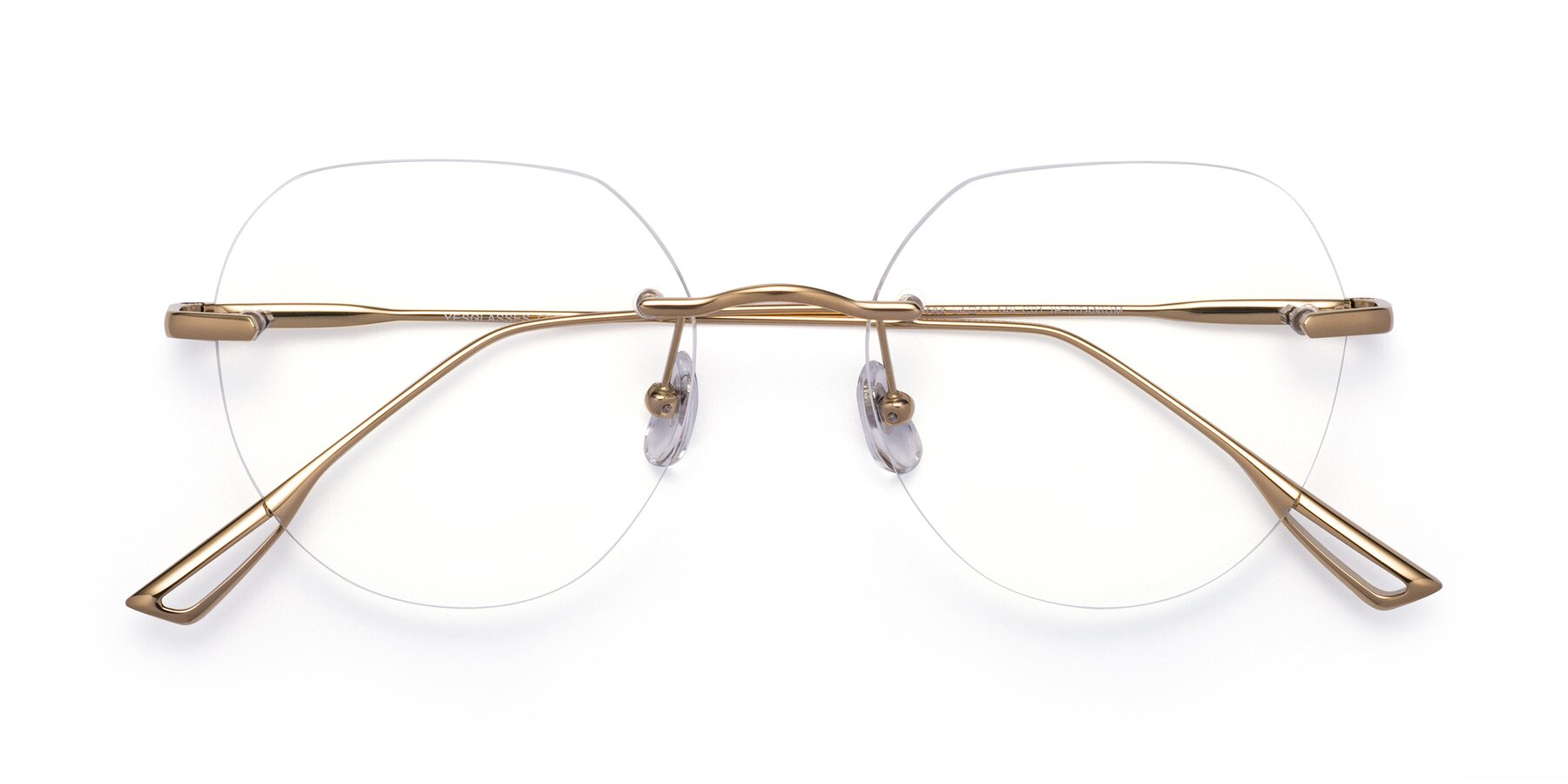 Folded Front of Torres in Gold with Clear Eyeglass Lenses