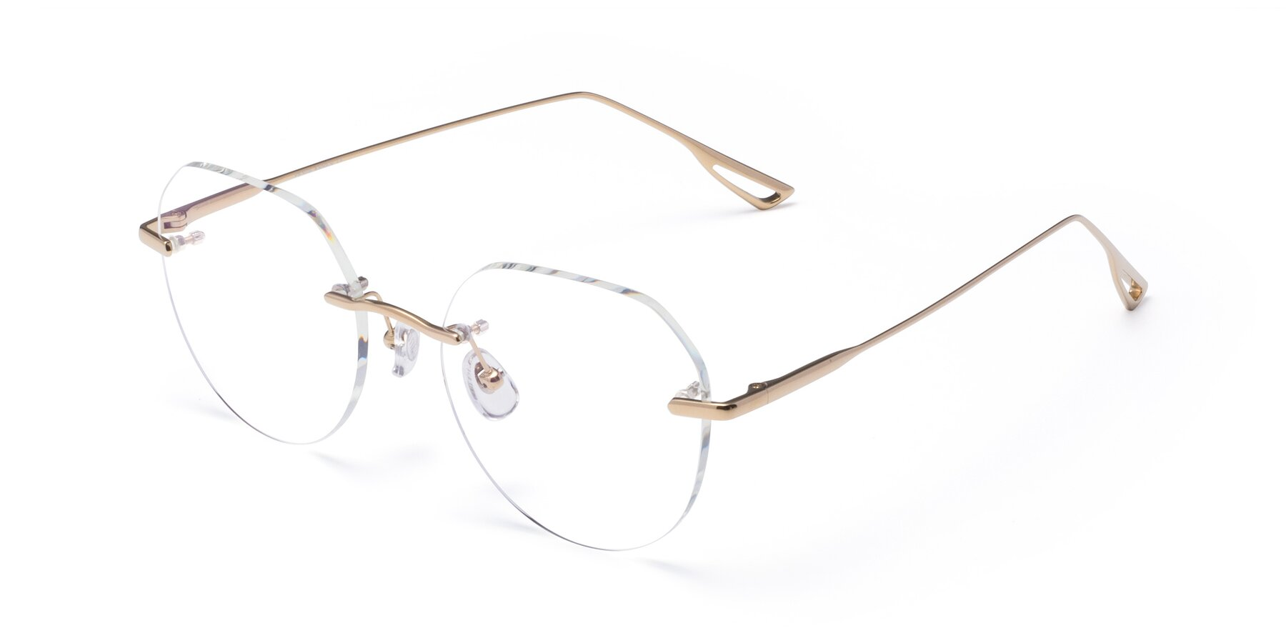 Angle of Torres in Gold with Clear Eyeglass Lenses