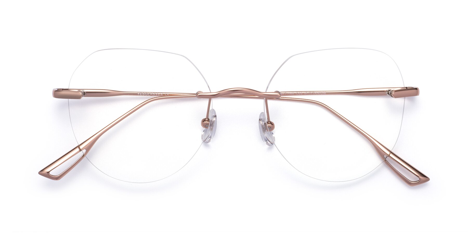 Folded Front of Torres in Rose Gold with Clear Blue Light Blocking Lenses