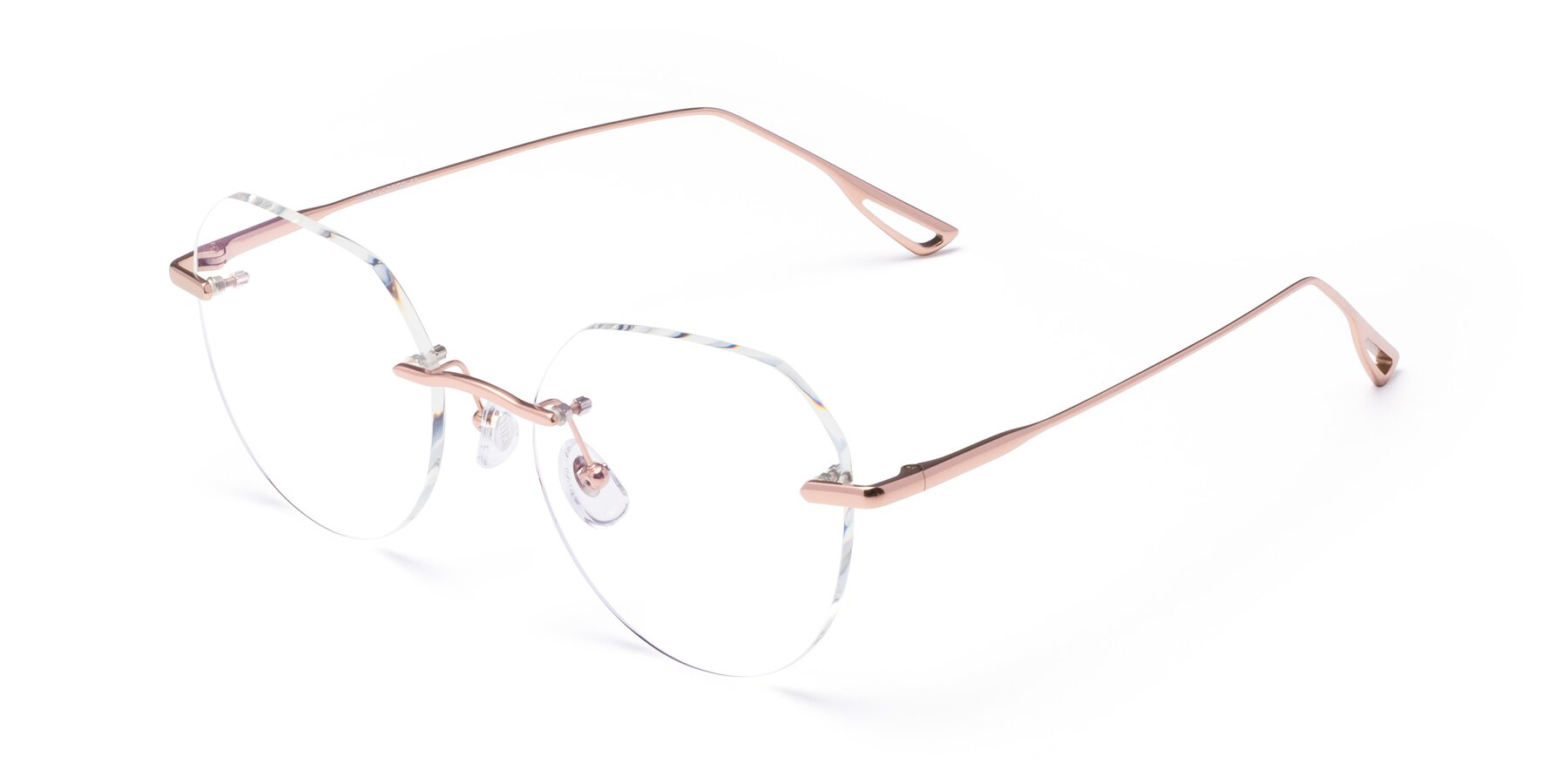 Angle of Torres in Rose Gold with Clear Blue Light Blocking Lenses